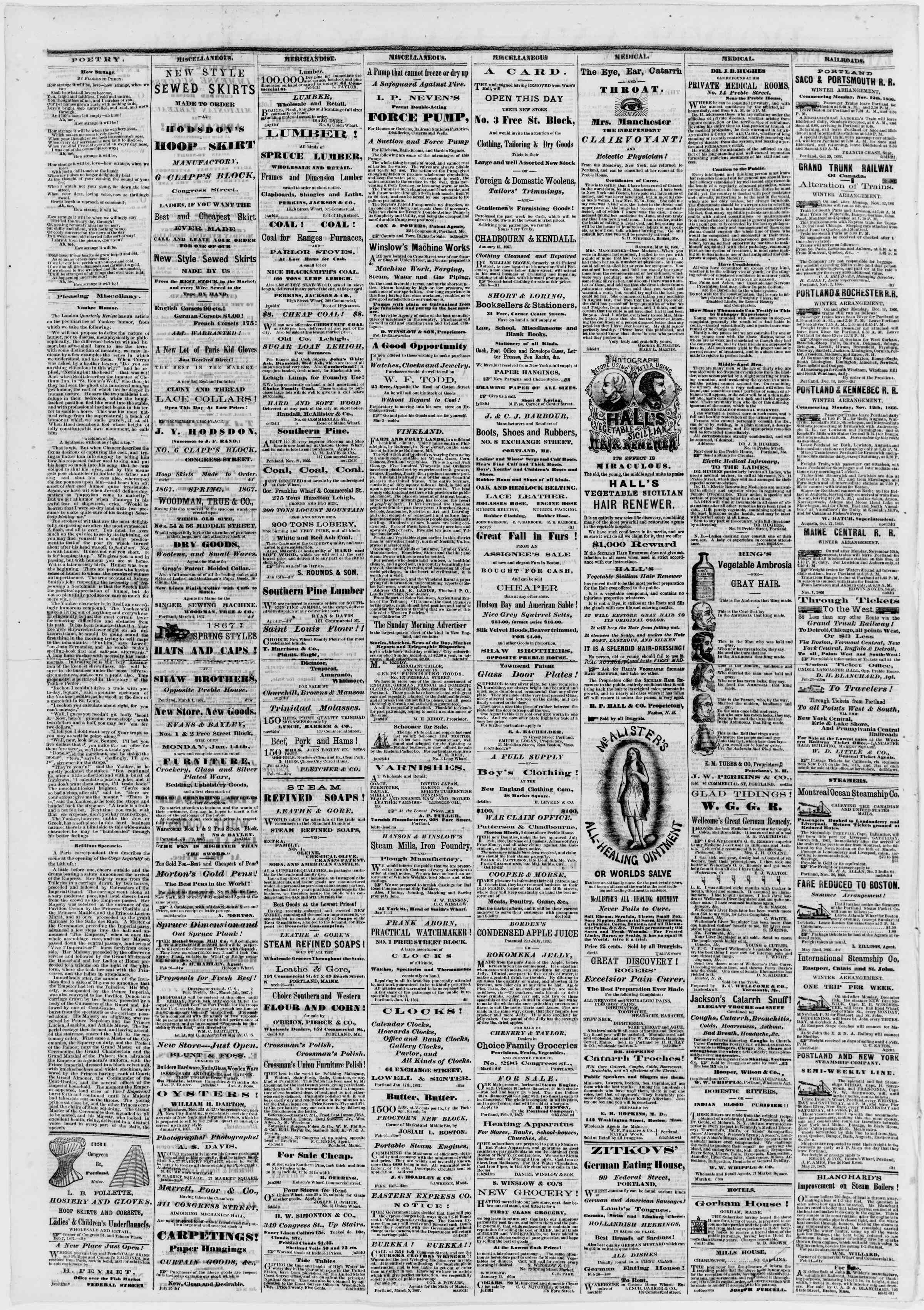 Newspaper of Portland Daily Press dated March 8, 1867 Page 4