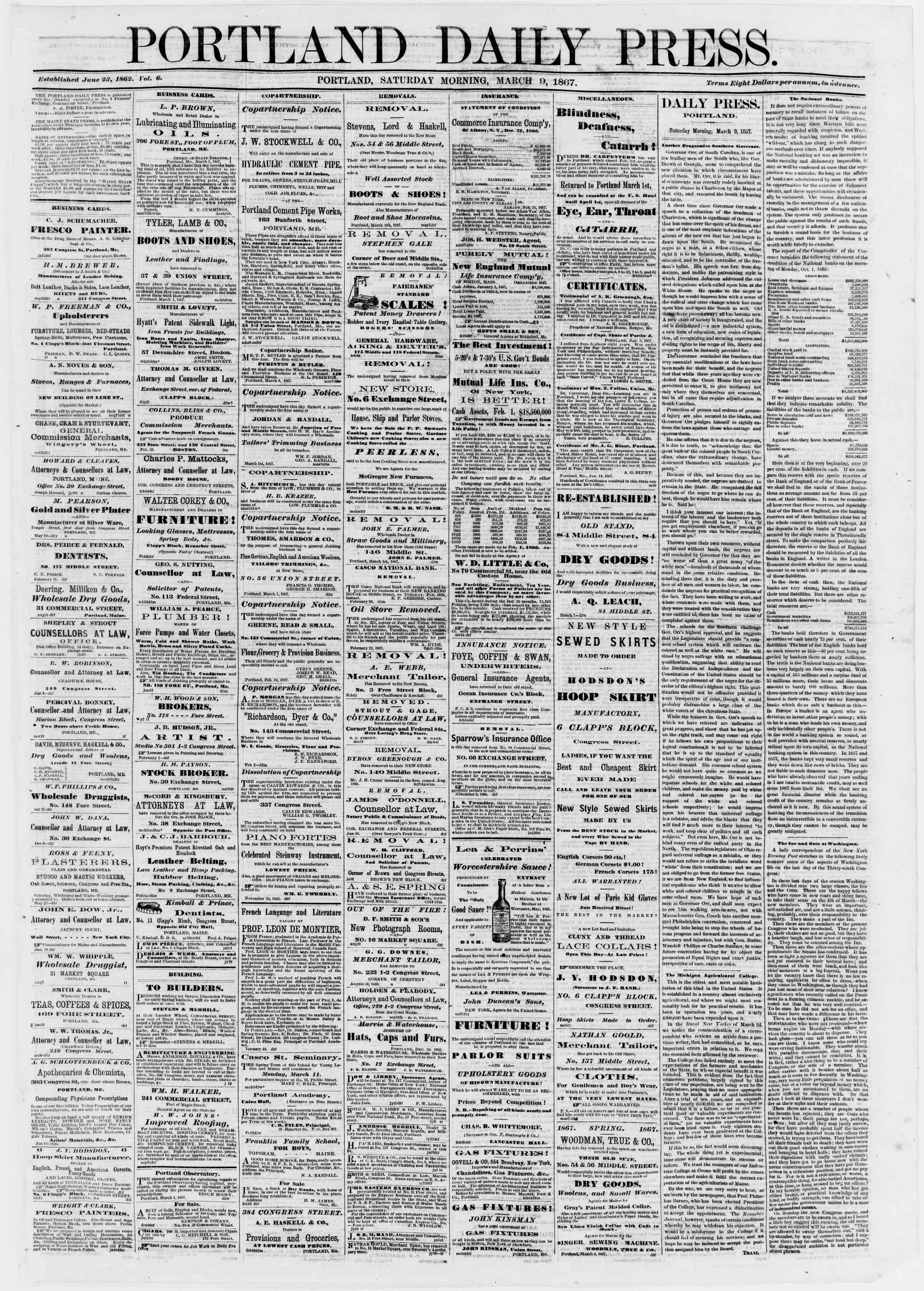 Newspaper of Portland Daily Press dated March 9, 1867 Page 1