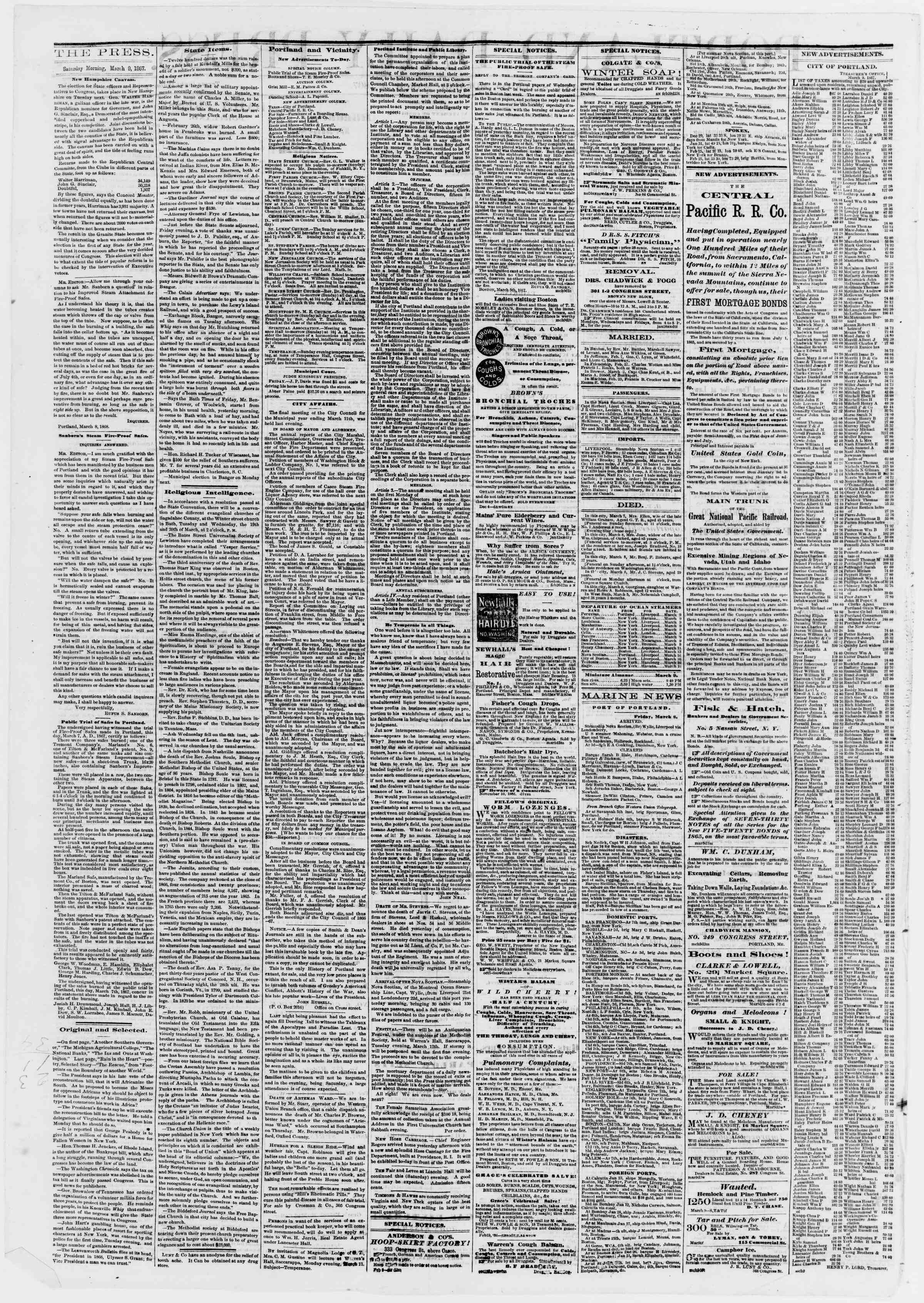 Newspaper of Portland Daily Press dated March 9, 1867 Page 2