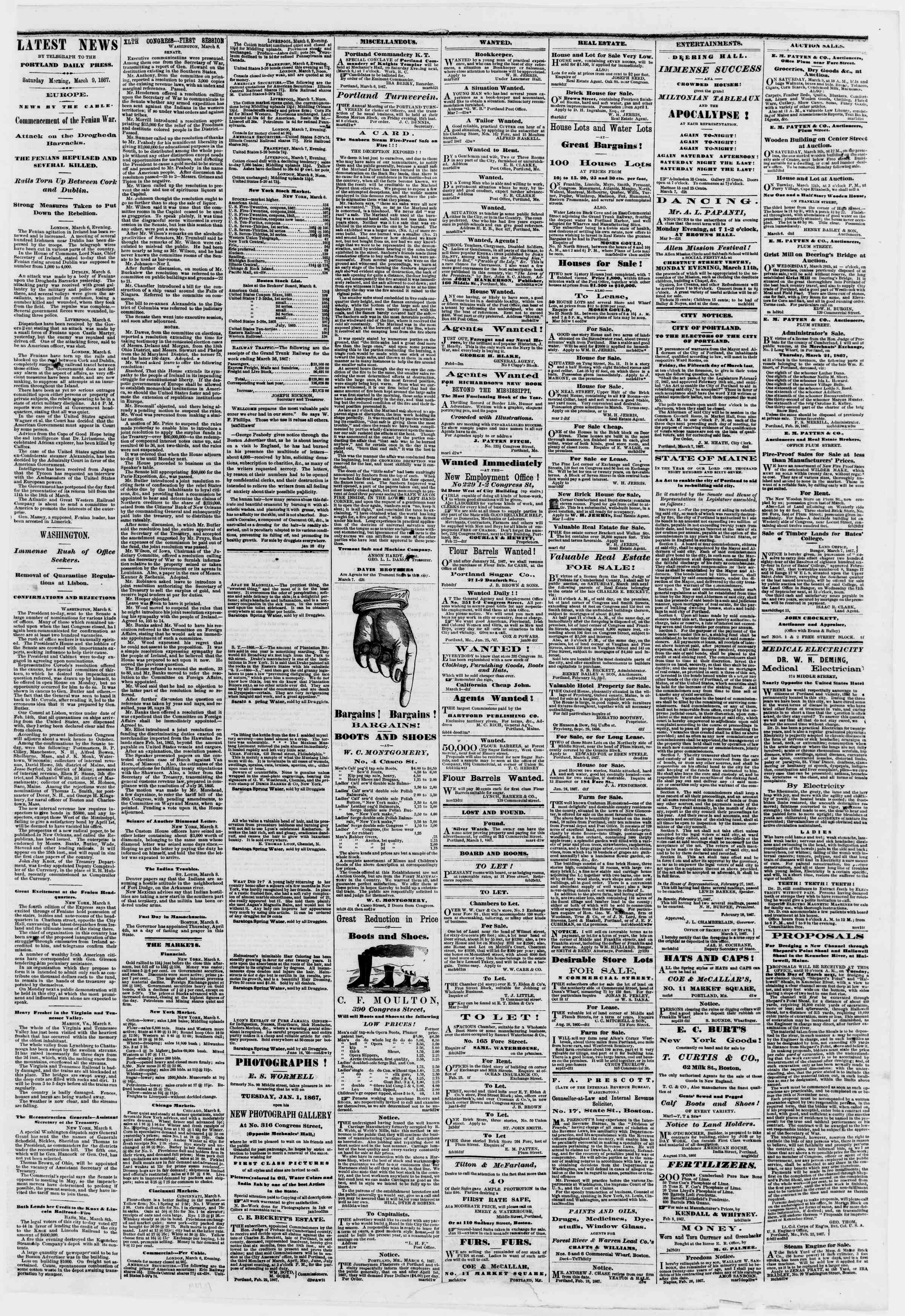 Newspaper of Portland Daily Press dated March 9, 1867 Page 3