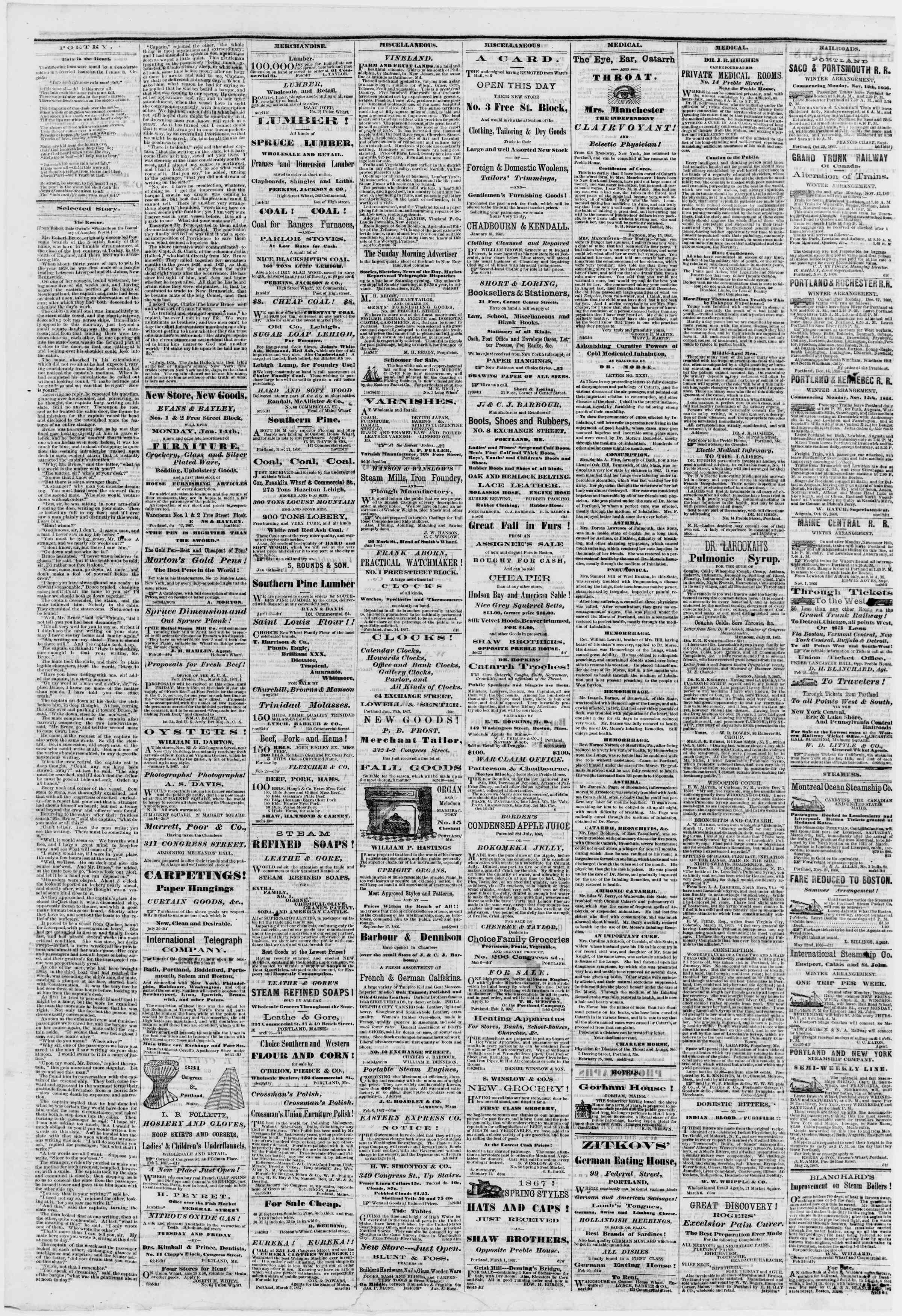 Newspaper of Portland Daily Press dated March 9, 1867 Page 4