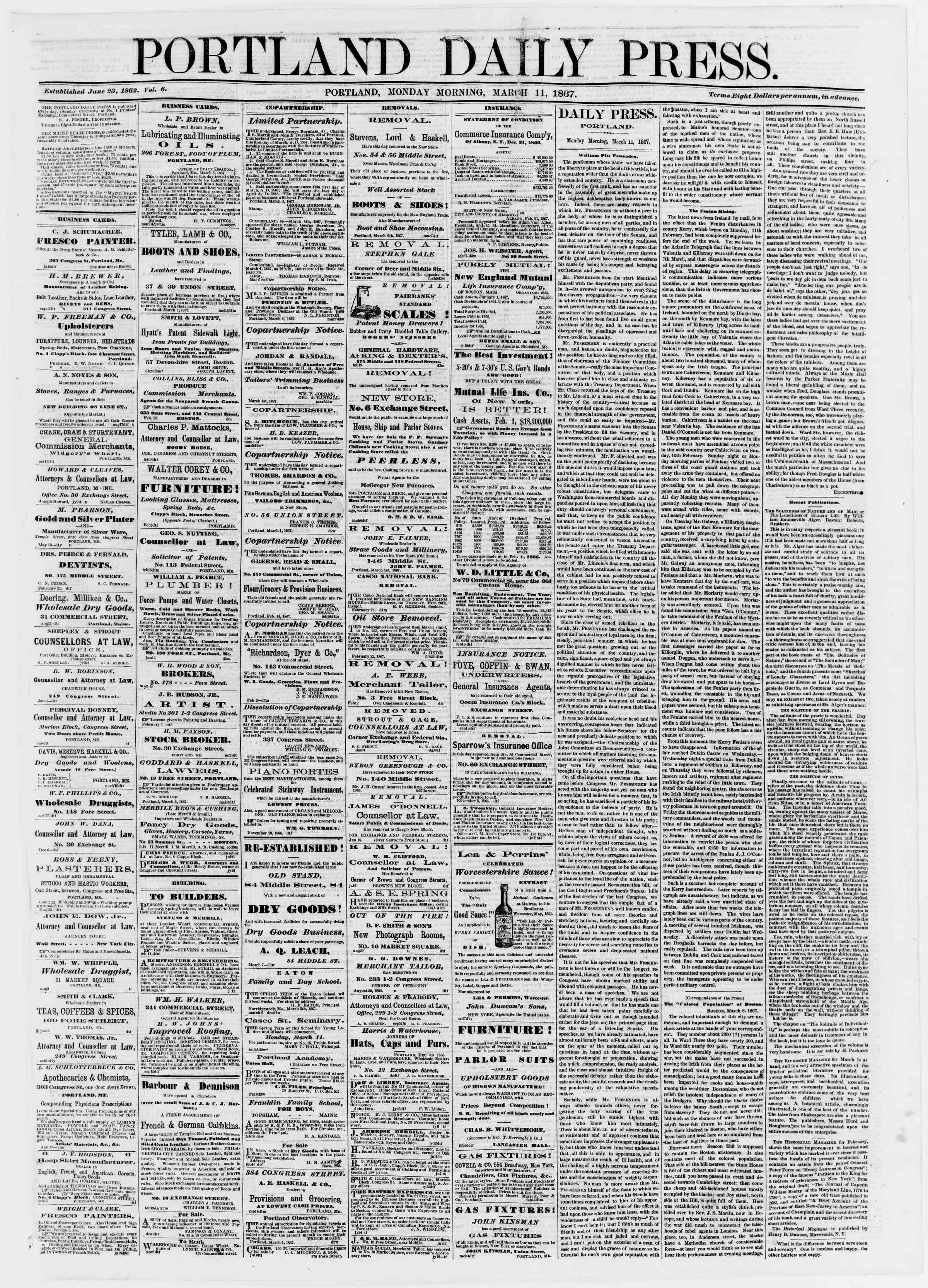 Newspaper of Portland Daily Press dated March 11, 1867 Page 1