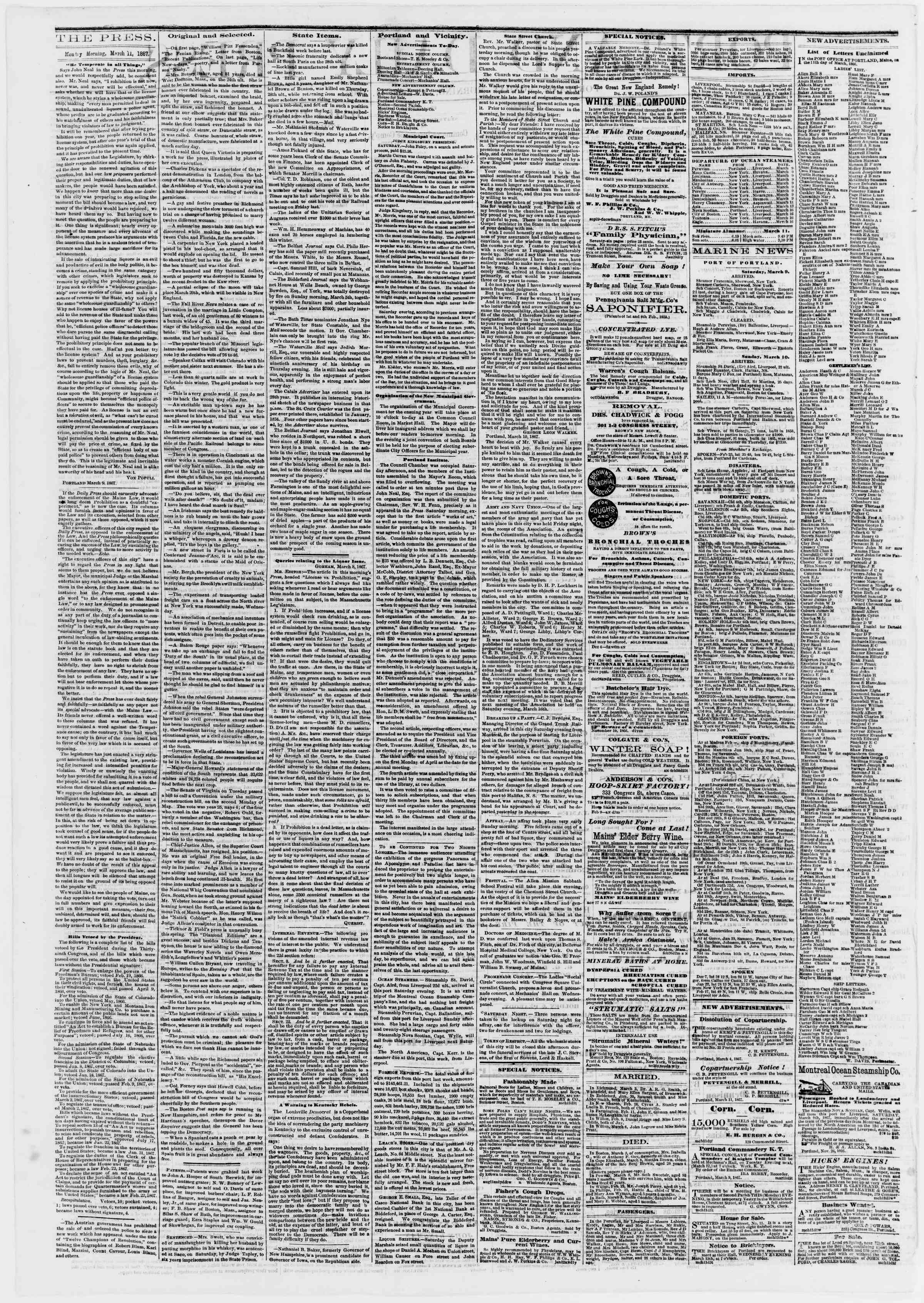 Newspaper of Portland Daily Press dated 11 Mart 1867 Page 2