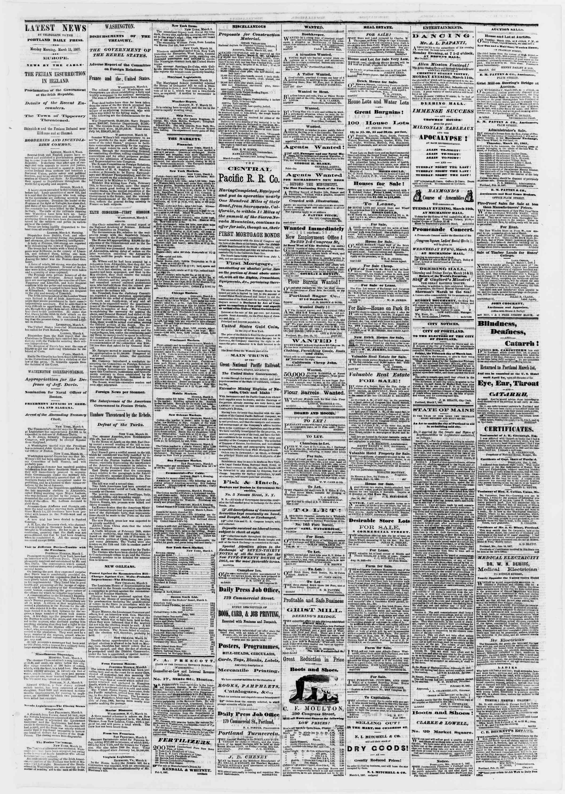 Newspaper of Portland Daily Press dated March 11, 1867 Page 3