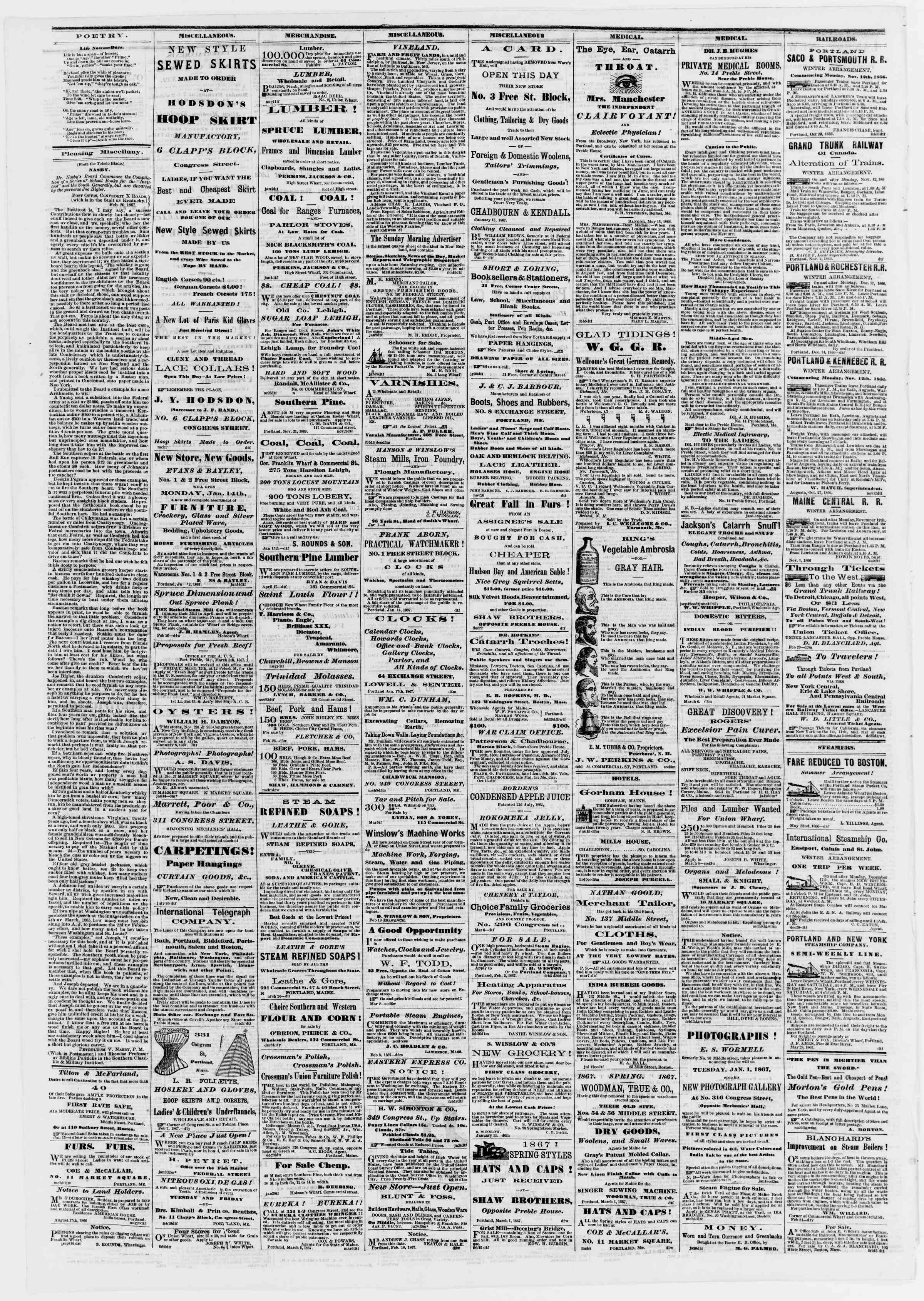 Newspaper of Portland Daily Press dated 11 Mart 1867 Page 4