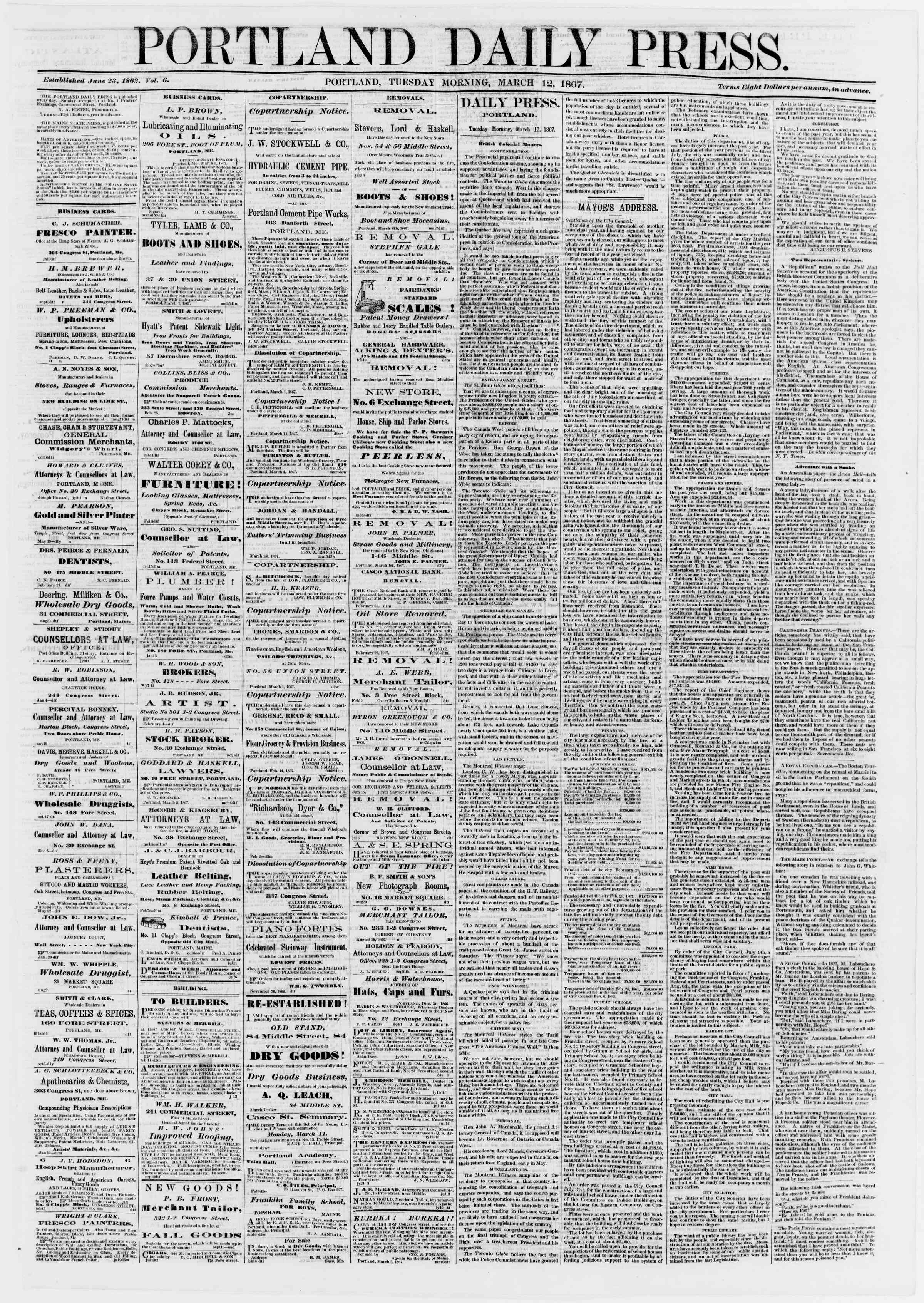 Newspaper of Portland Daily Press dated March 12, 1867 Page 1