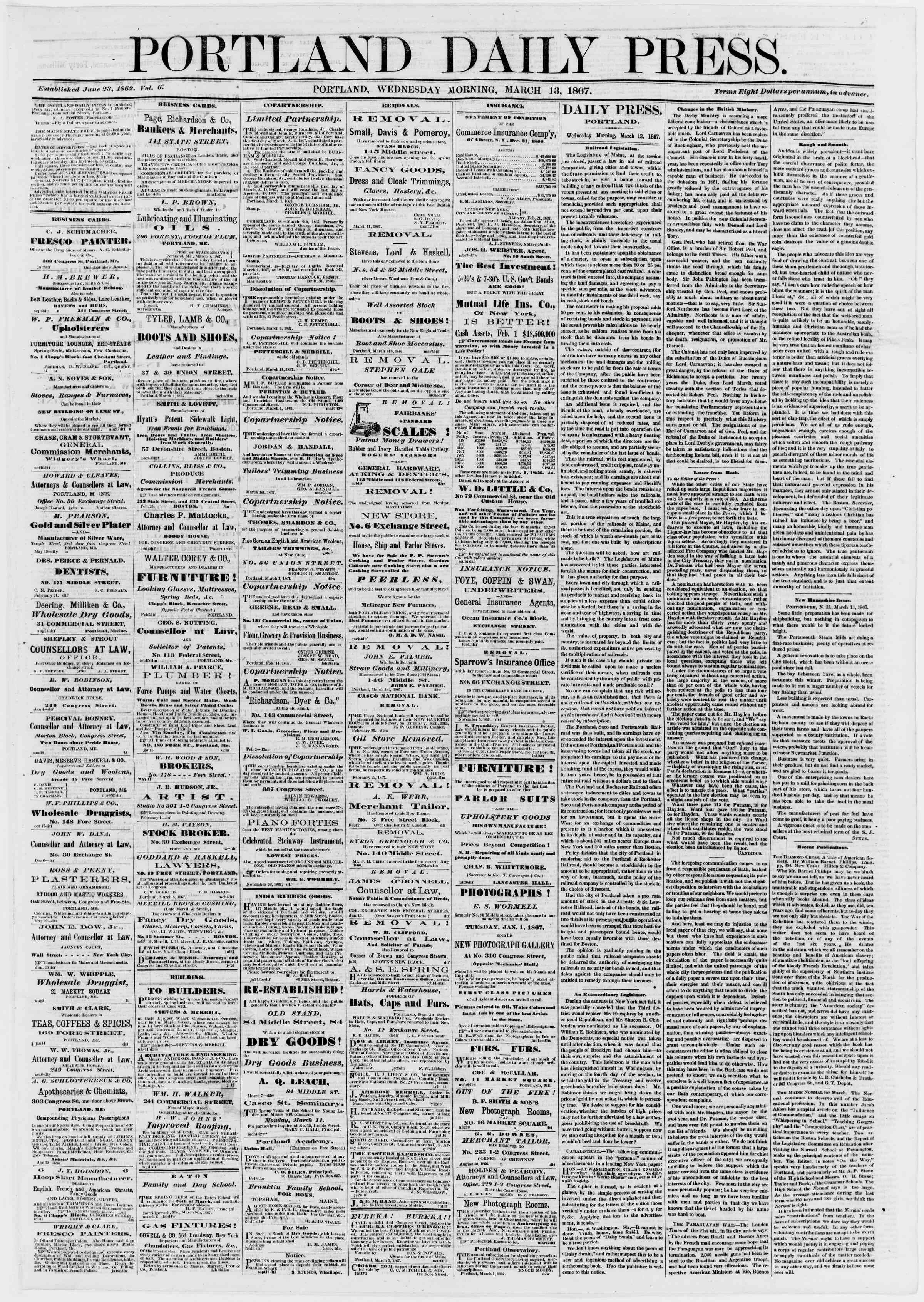 Newspaper of Portland Daily Press dated March 13, 1867 Page 1
