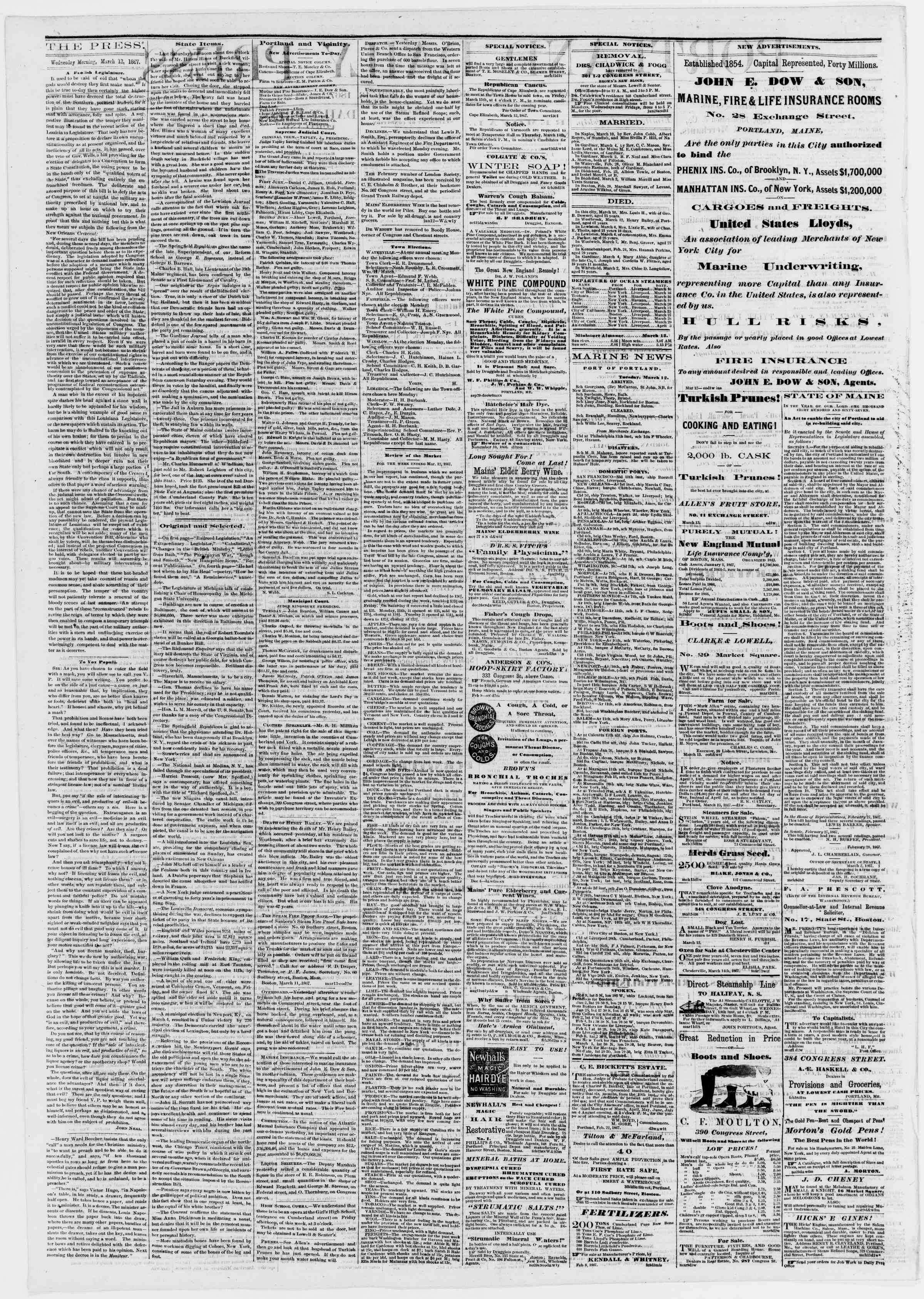 Newspaper of Portland Daily Press dated March 13, 1867 Page 2