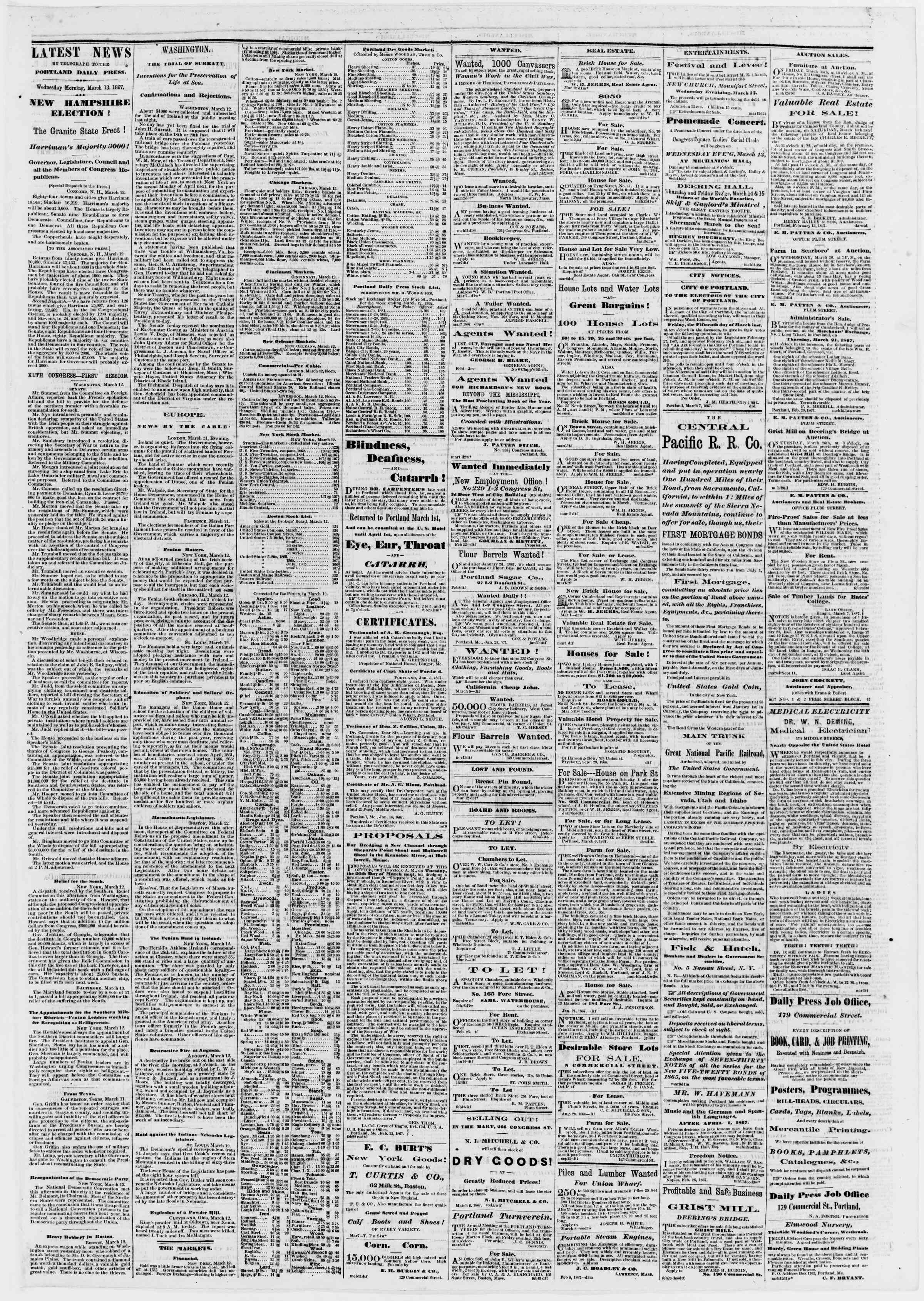 Newspaper of Portland Daily Press dated March 13, 1867 Page 3