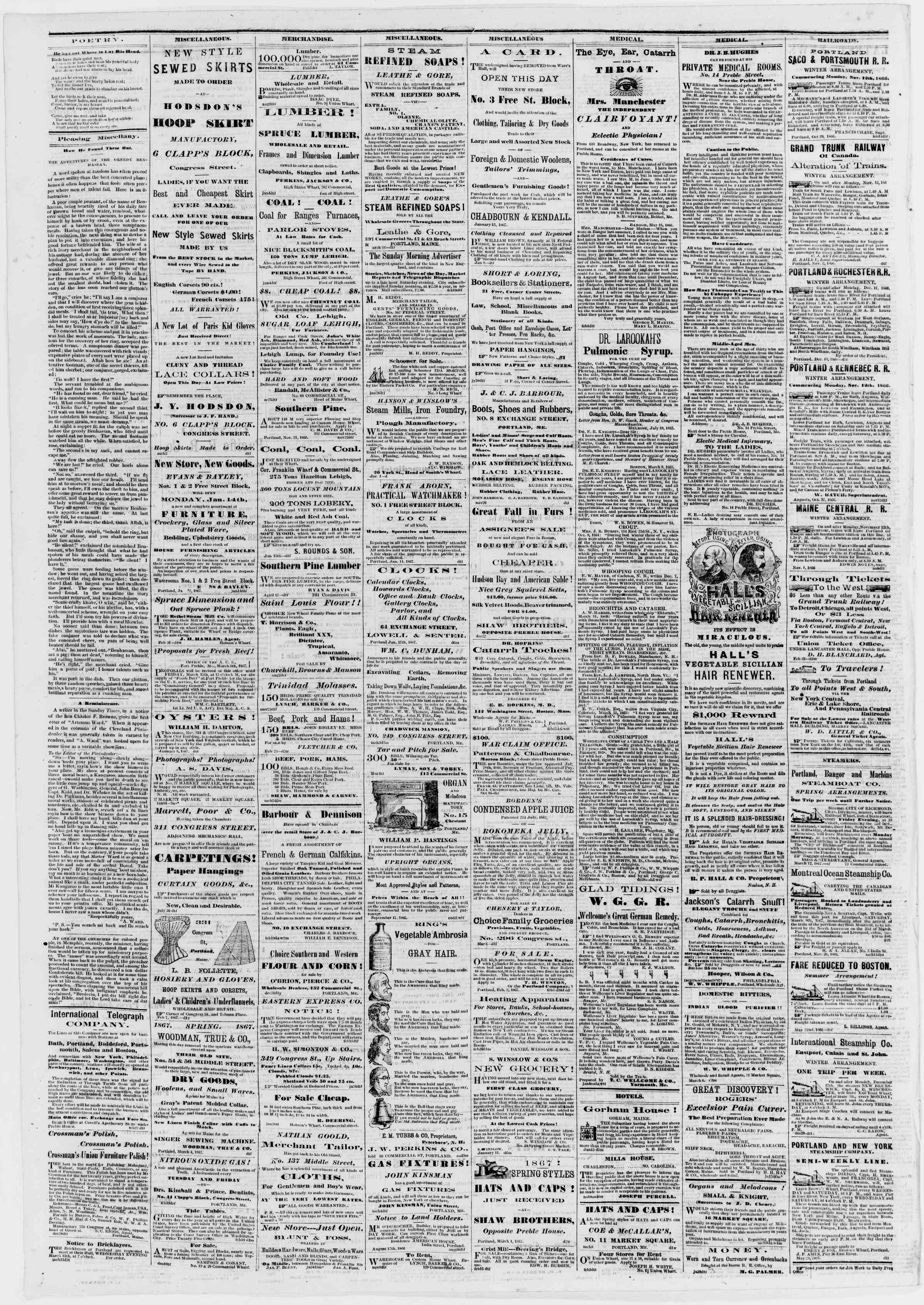 Newspaper of Portland Daily Press dated 13 Mart 1867 Page 4