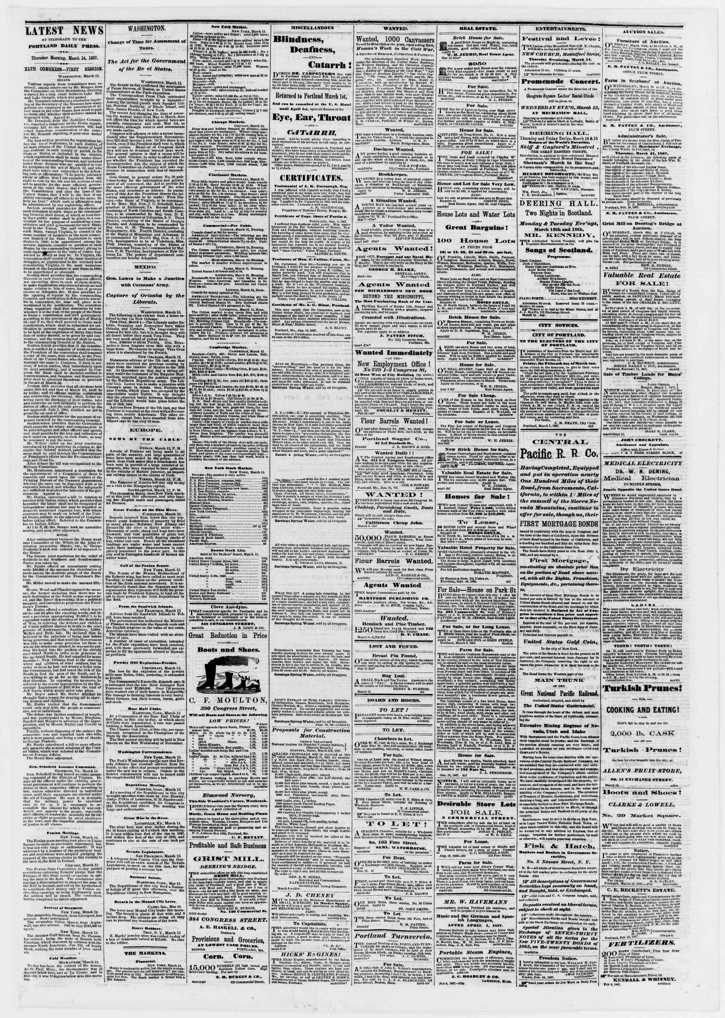Newspaper of Portland Daily Press dated March 14, 1867 Page 3
