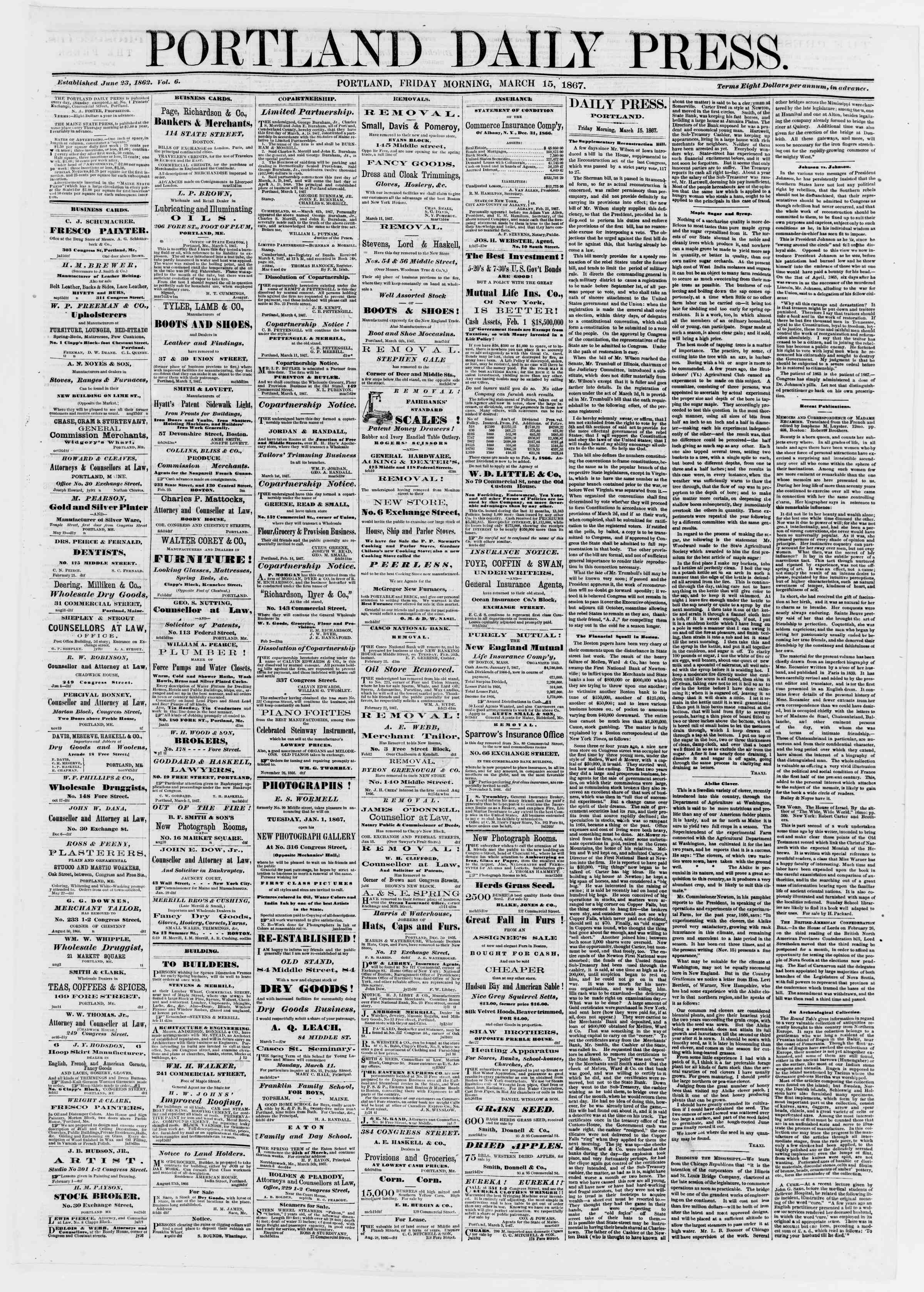 Newspaper of Portland Daily Press dated March 15, 1867 Page 1