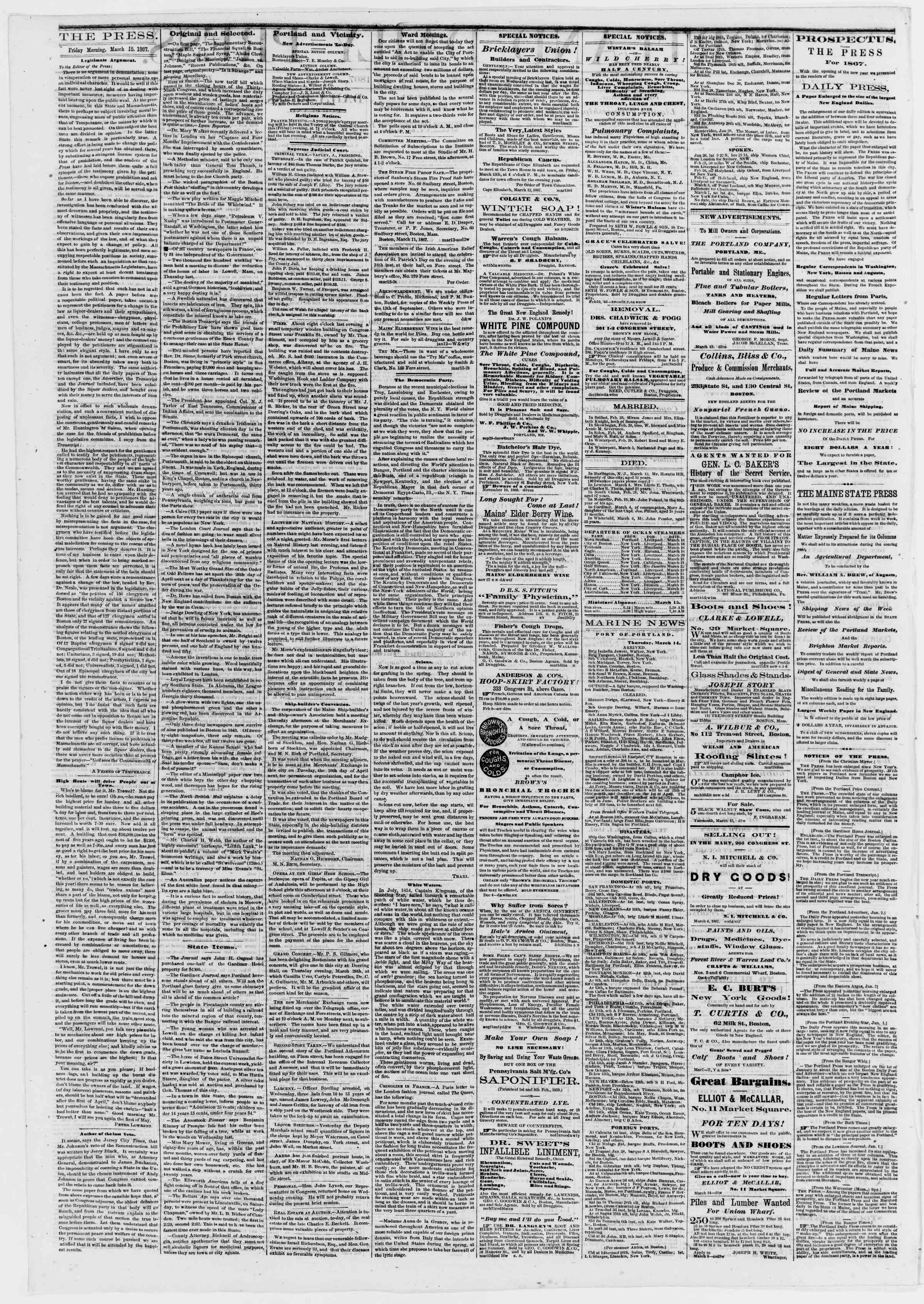 Newspaper of Portland Daily Press dated March 15, 1867 Page 2