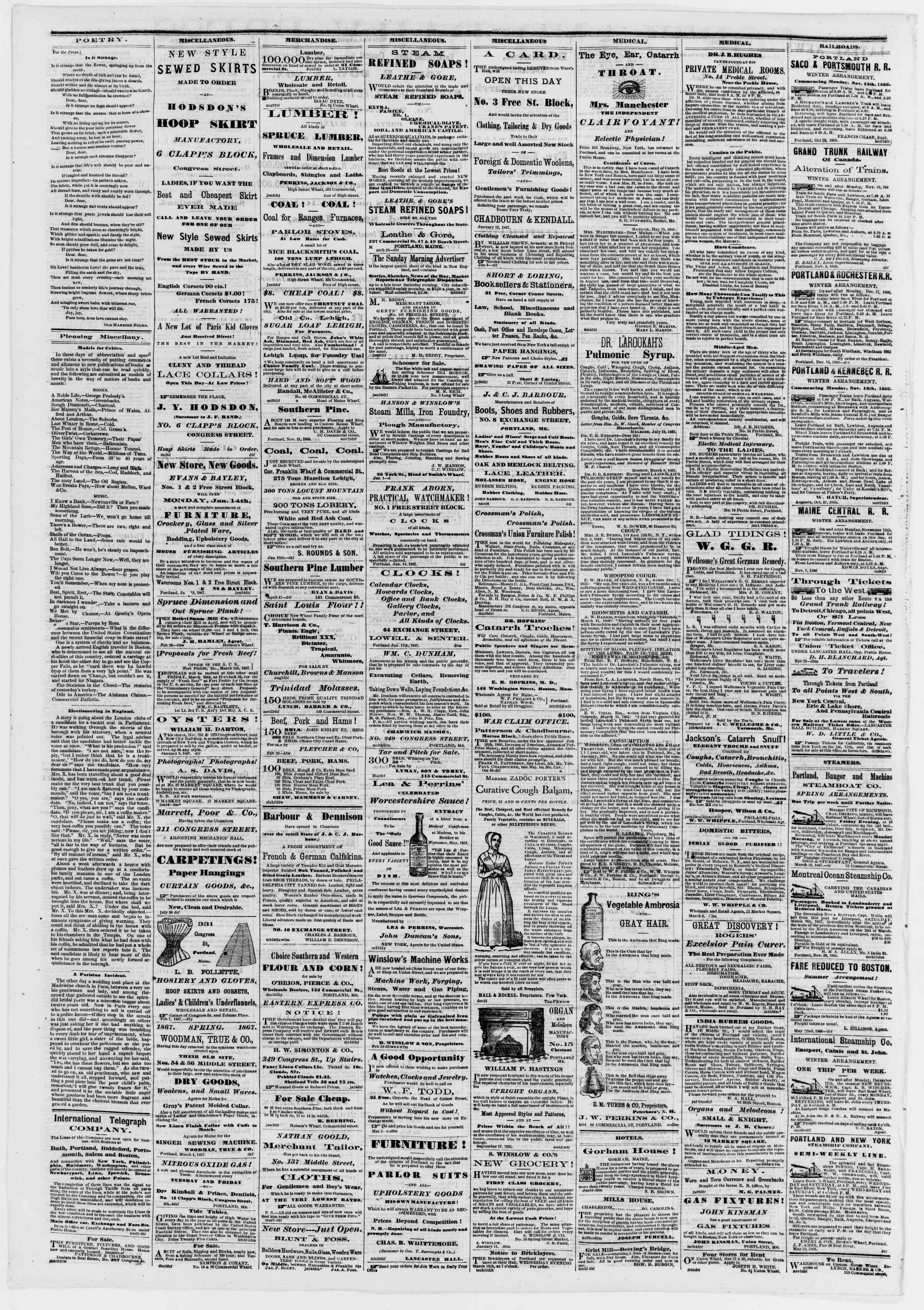 Newspaper of Portland Daily Press dated March 15, 1867 Page 4