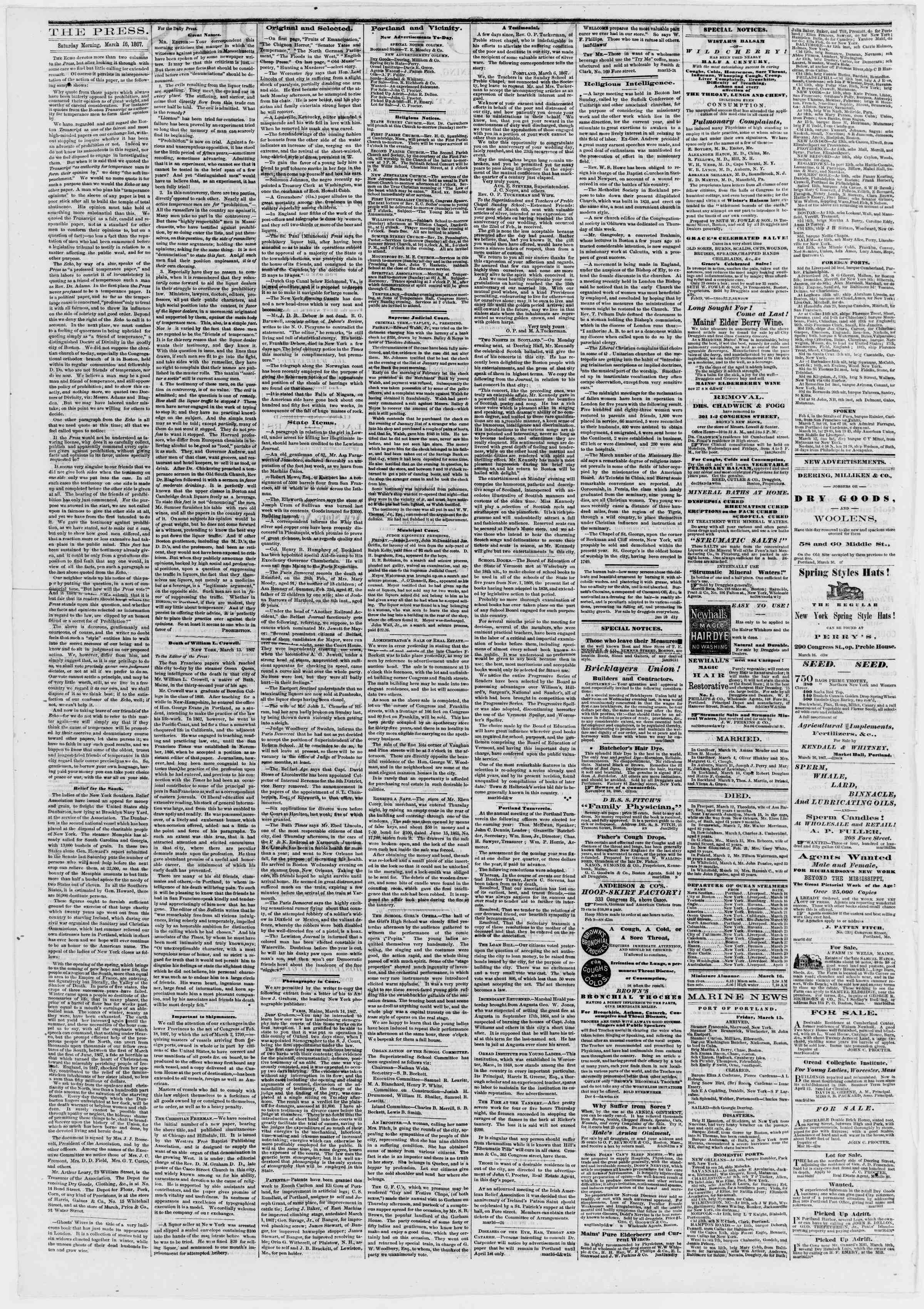 Newspaper of Portland Daily Press dated March 16, 1867 Page 2