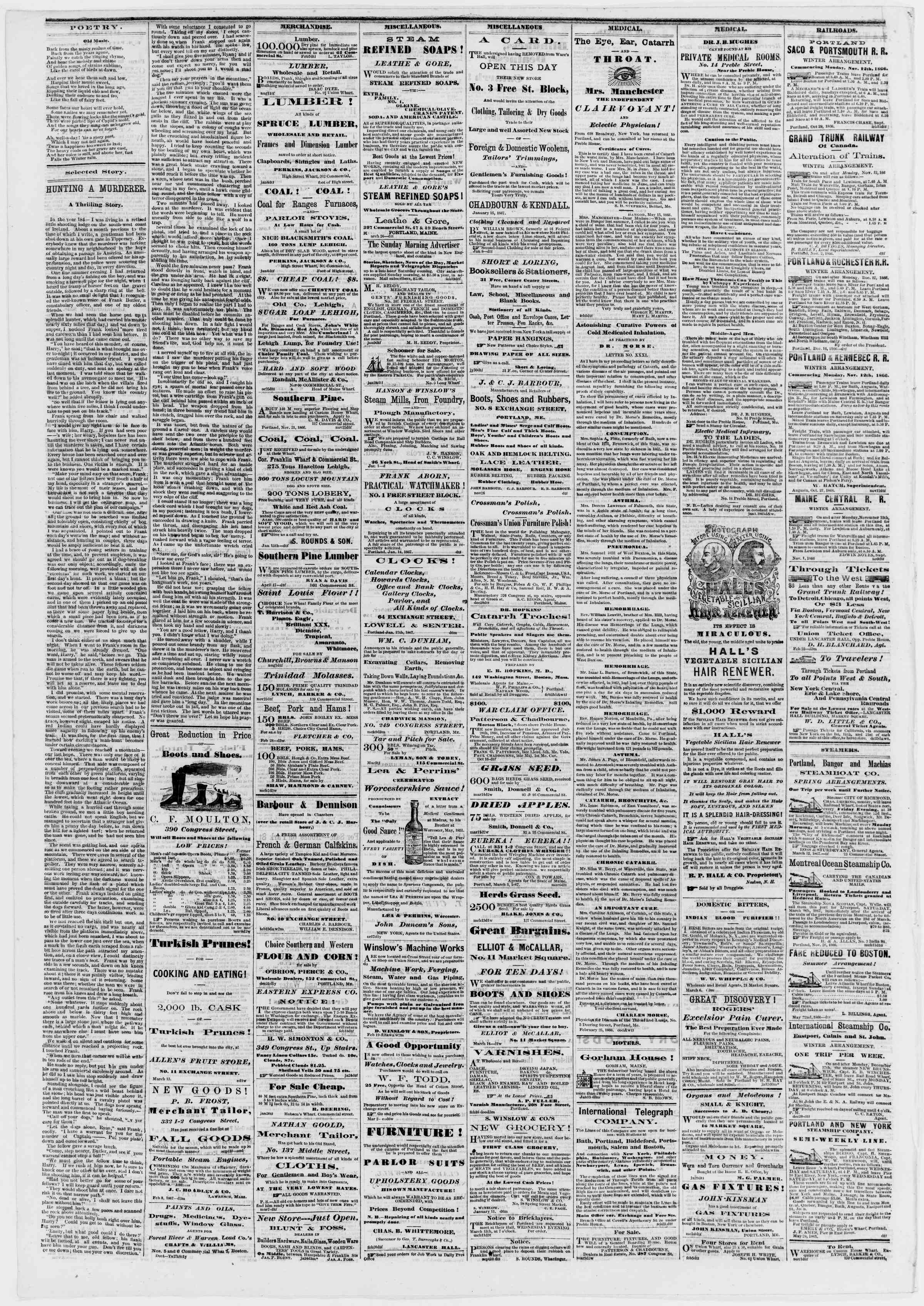 Newspaper of Portland Daily Press dated March 16, 1867 Page 4
