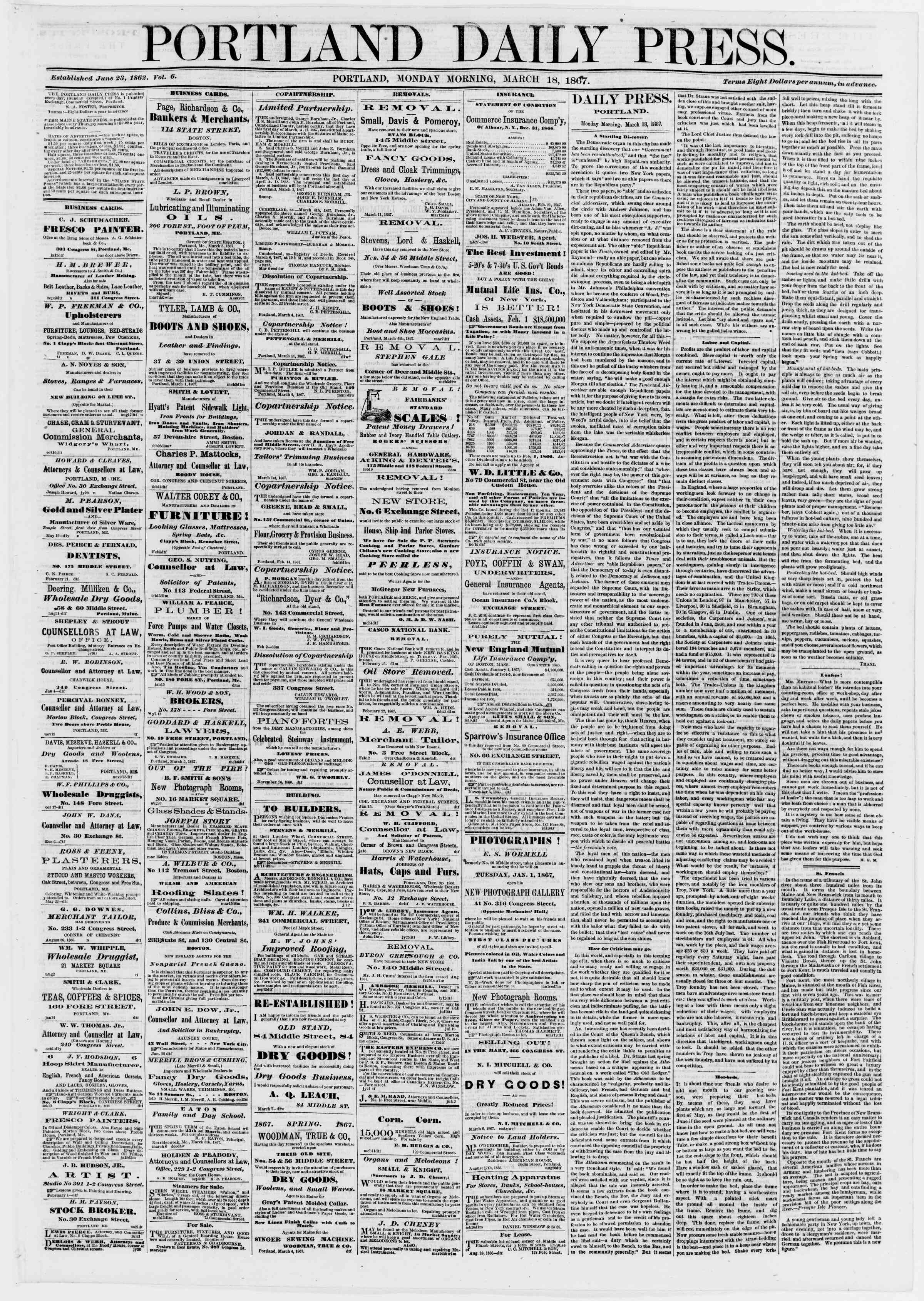 Newspaper of Portland Daily Press dated March 18, 1867 Page 1
