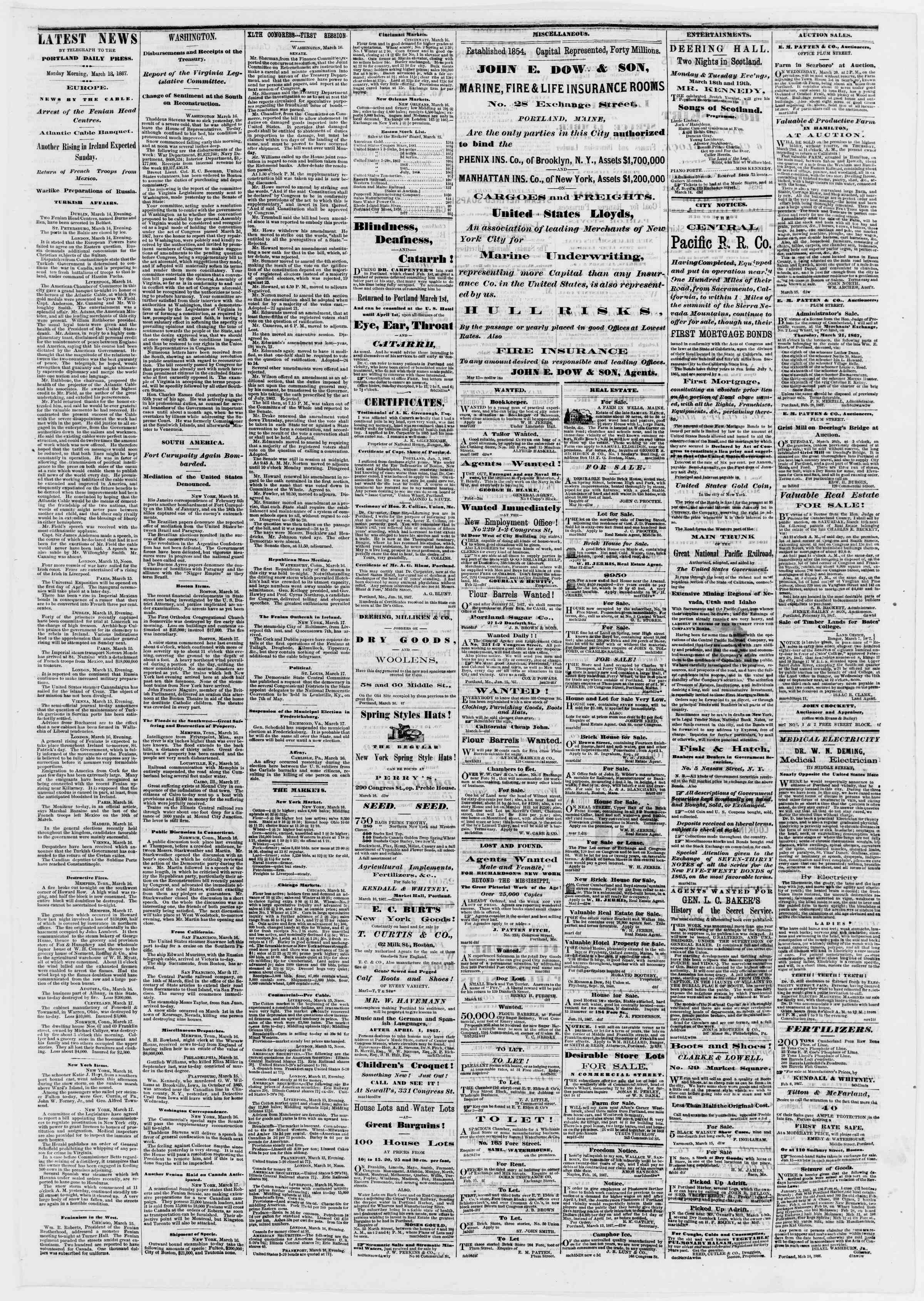 Newspaper of Portland Daily Press dated March 18, 1867 Page 3