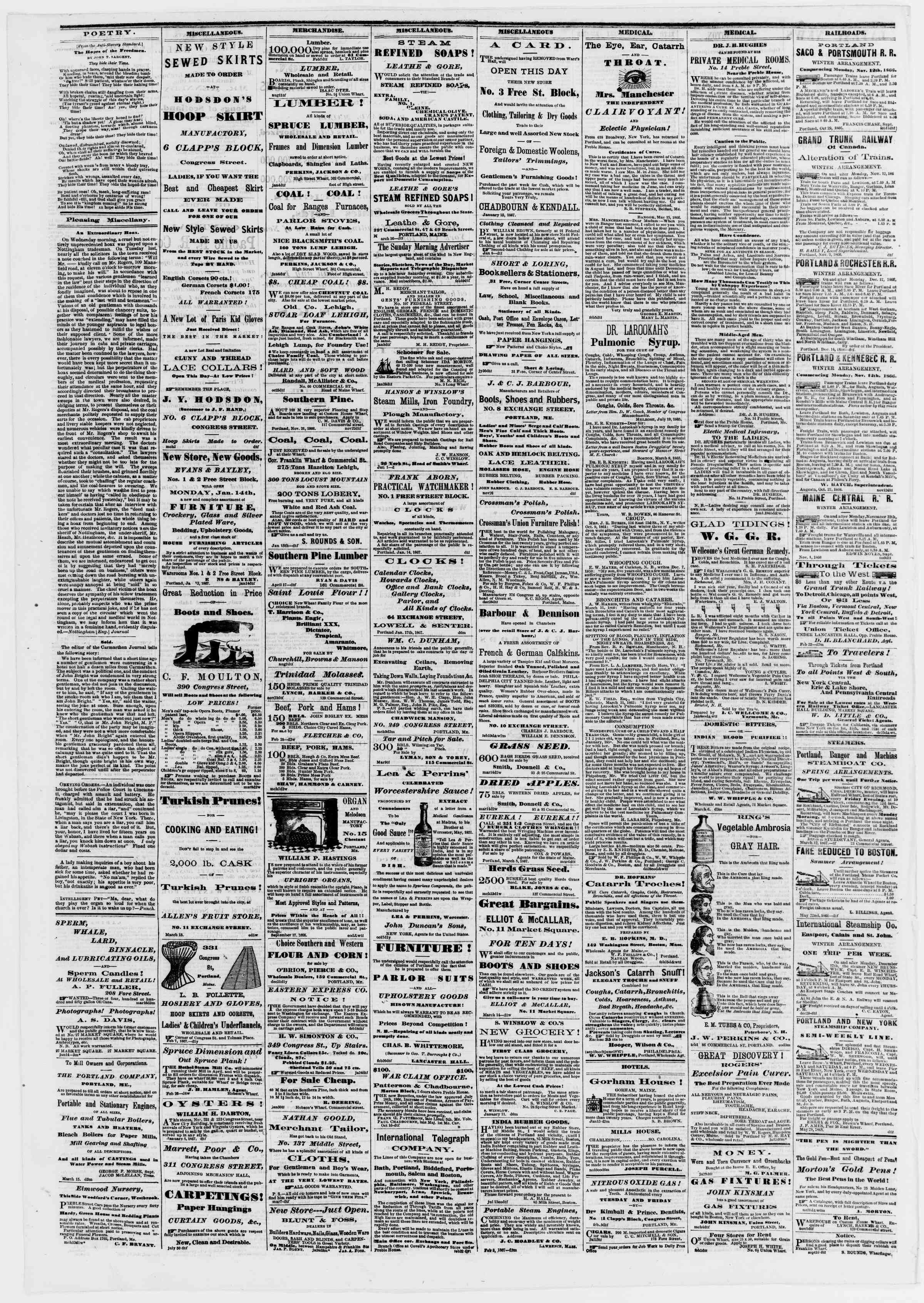 Newspaper of Portland Daily Press dated March 18, 1867 Page 4