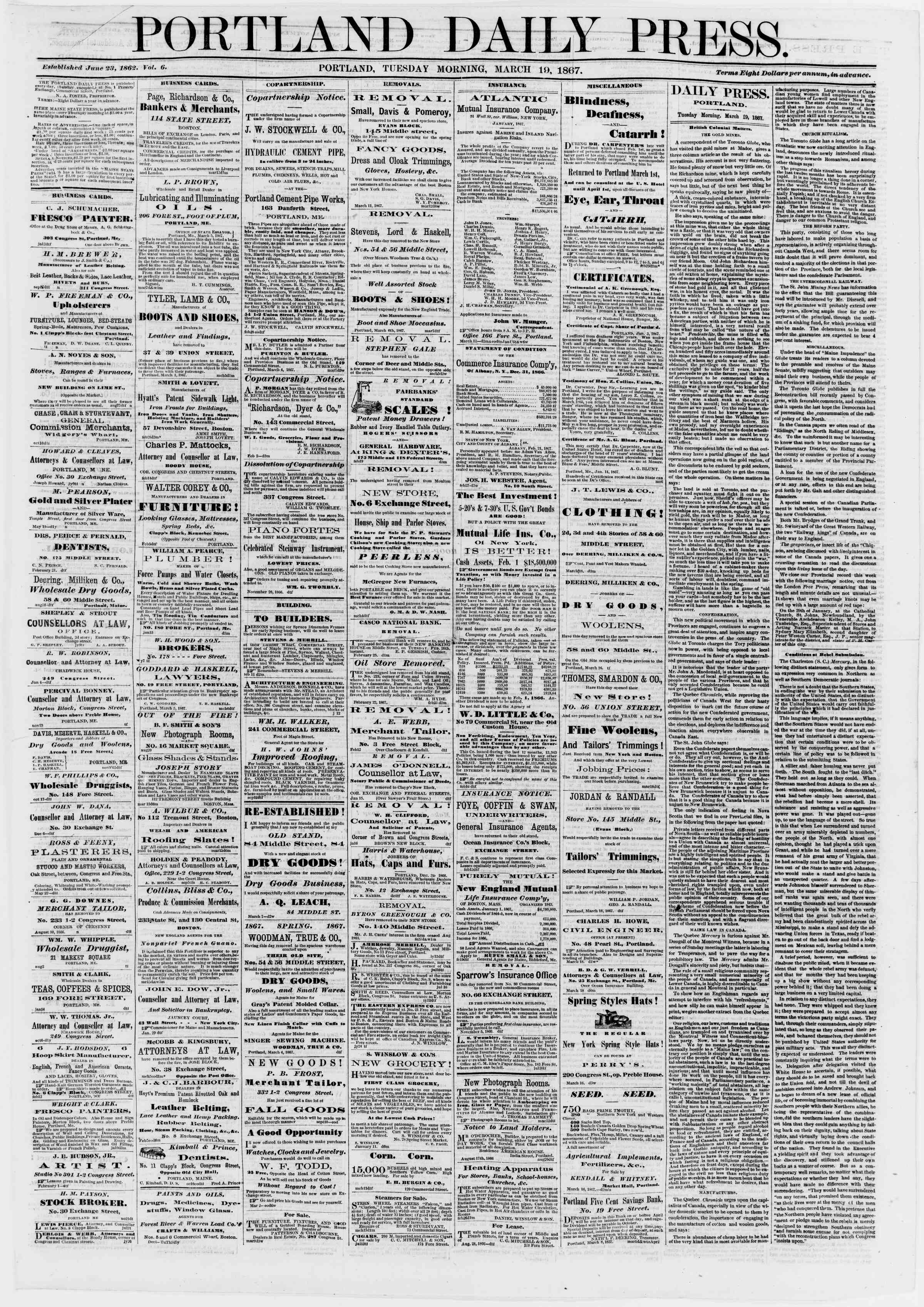 Newspaper of Portland Daily Press dated March 19, 1867 Page 1