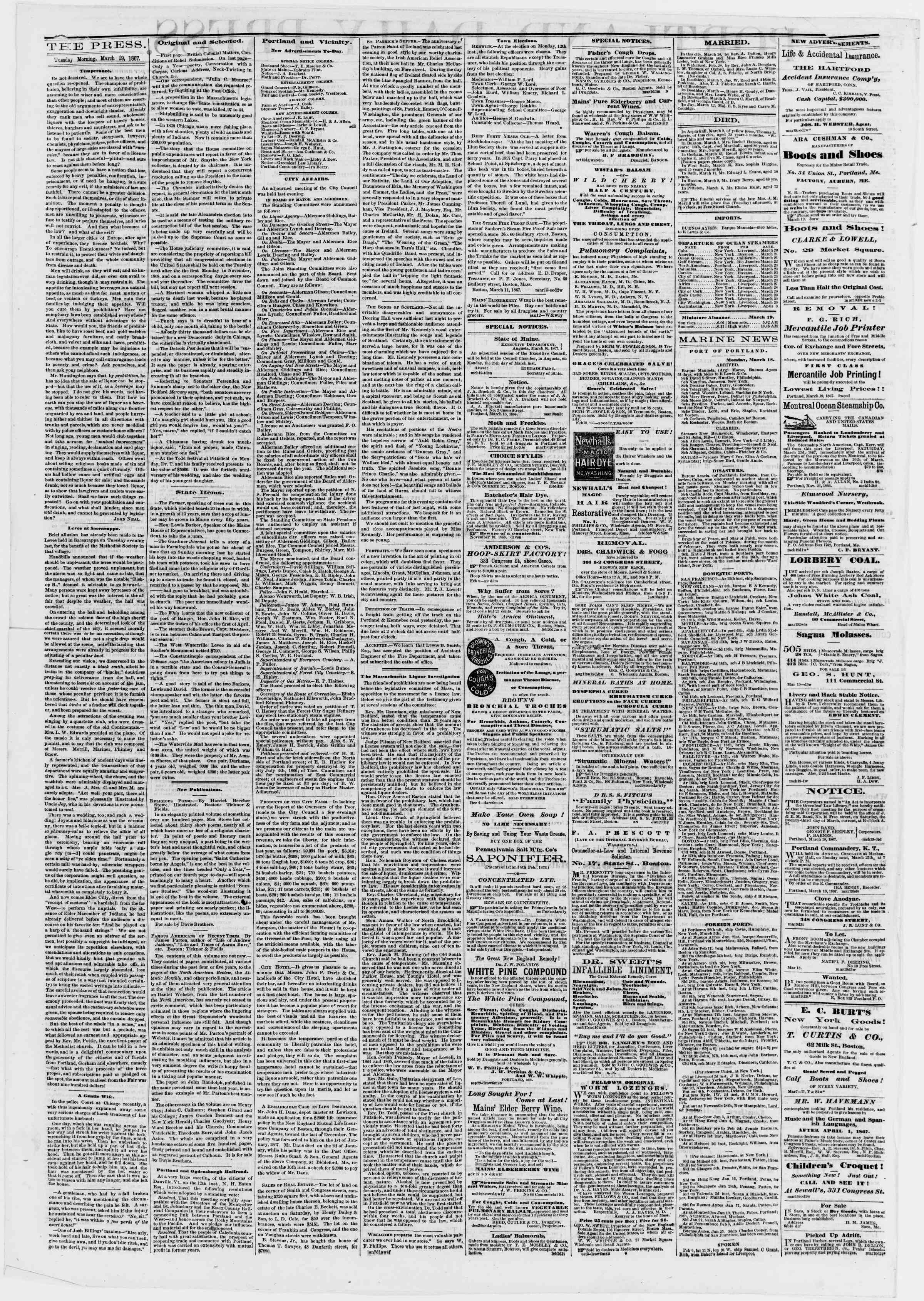 Newspaper of Portland Daily Press dated March 19, 1867 Page 2