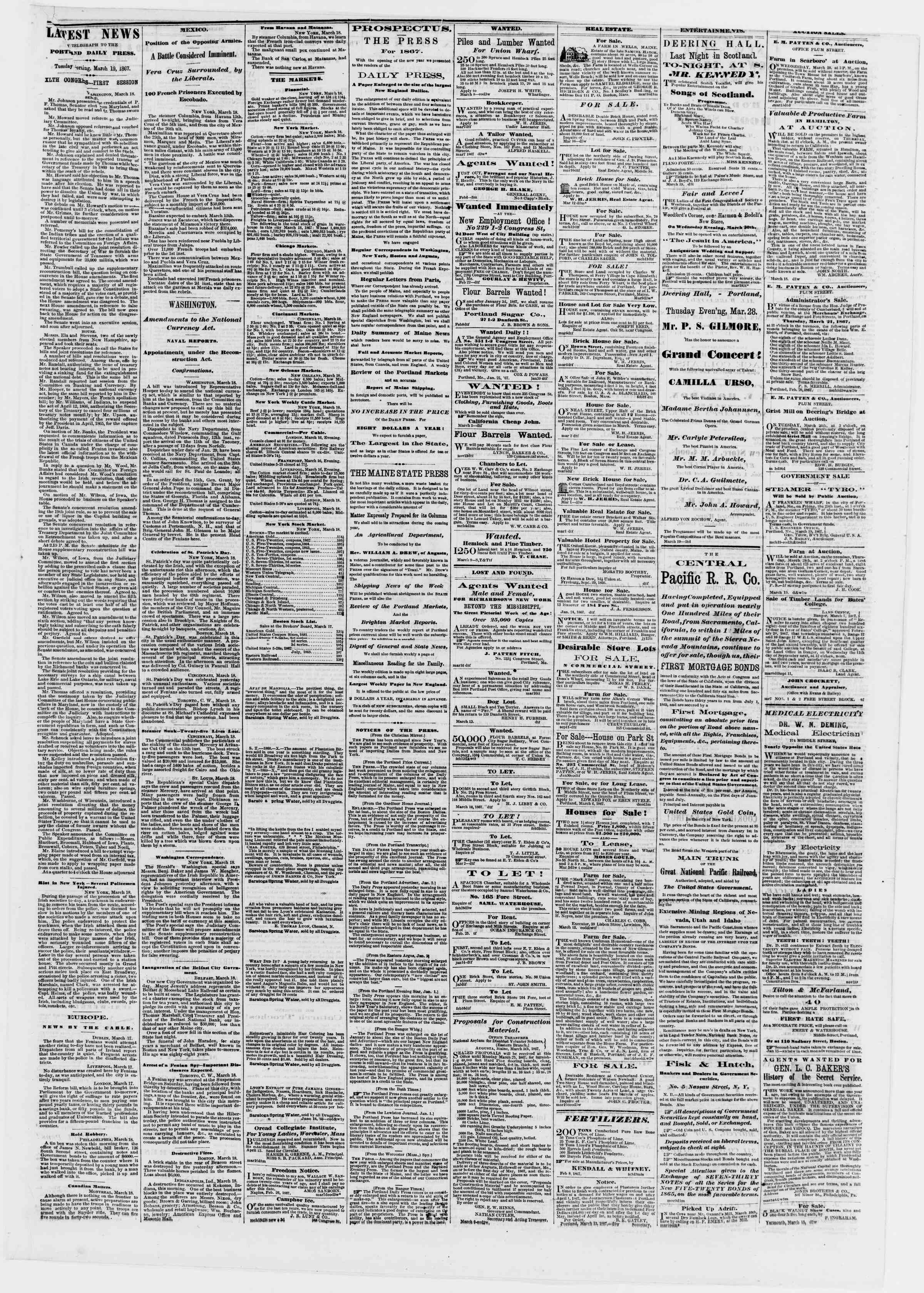 Newspaper of Portland Daily Press dated March 19, 1867 Page 3