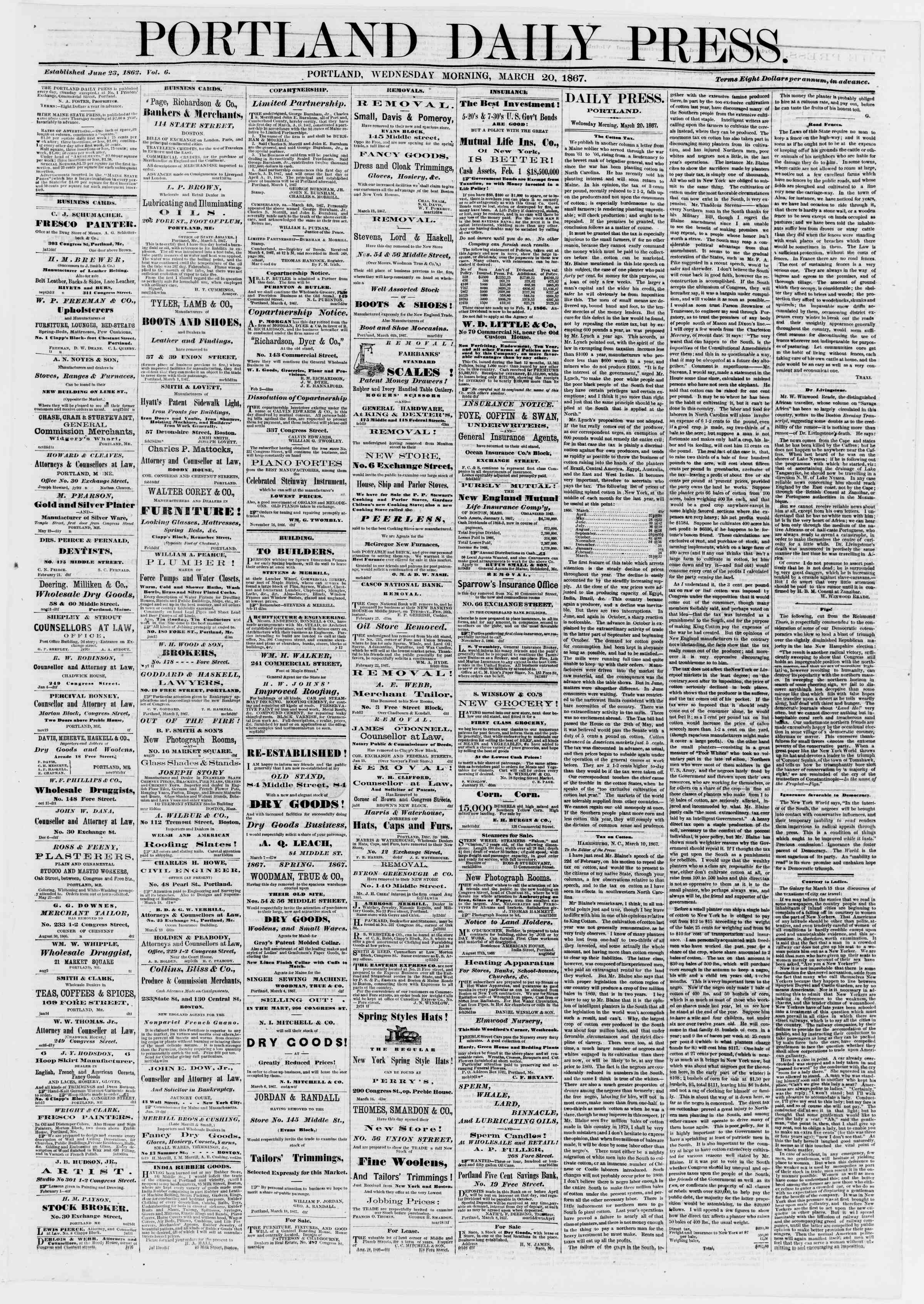 Newspaper of Portland Daily Press dated March 20, 1867 Page 1