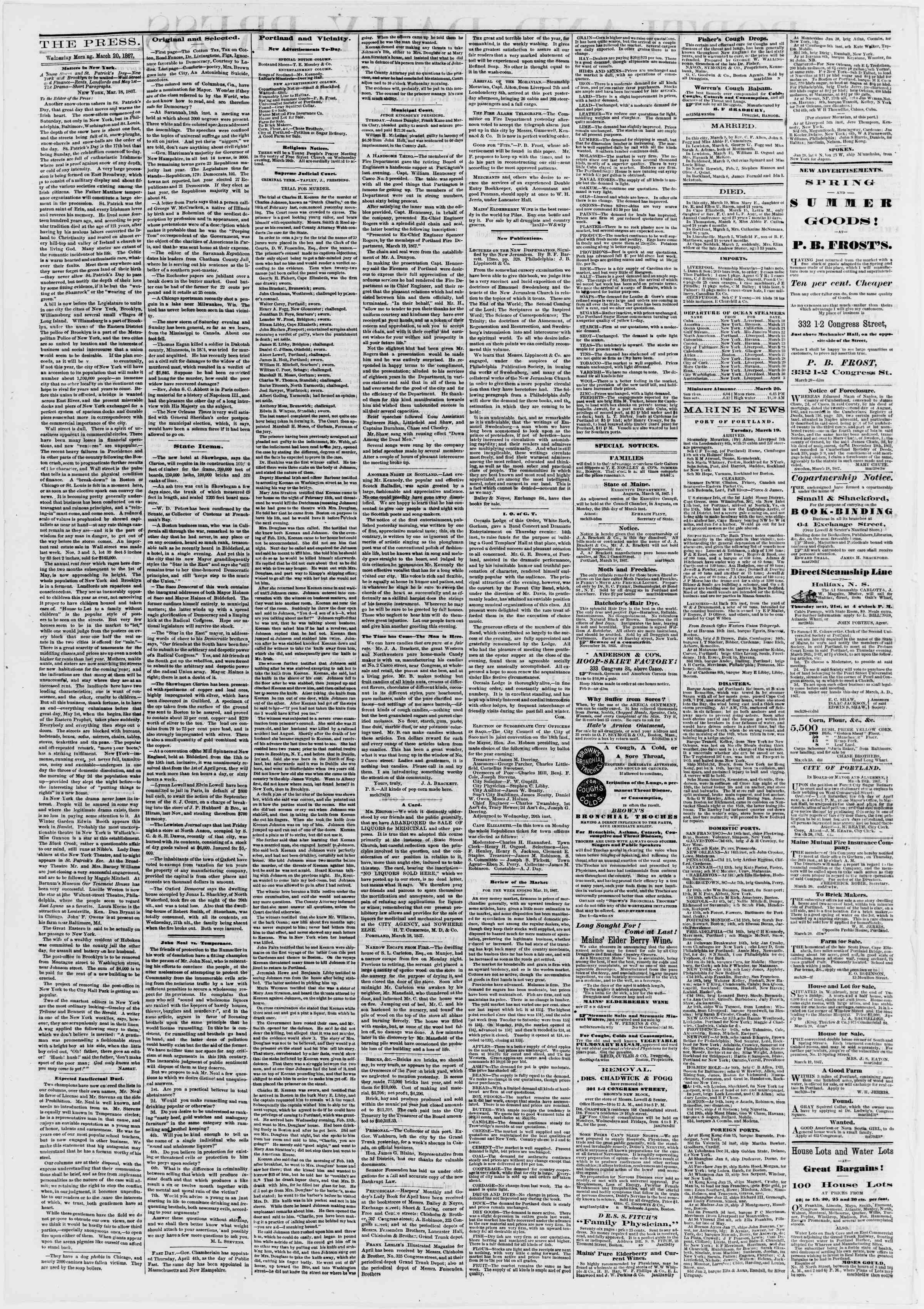 Newspaper of Portland Daily Press dated March 20, 1867 Page 2