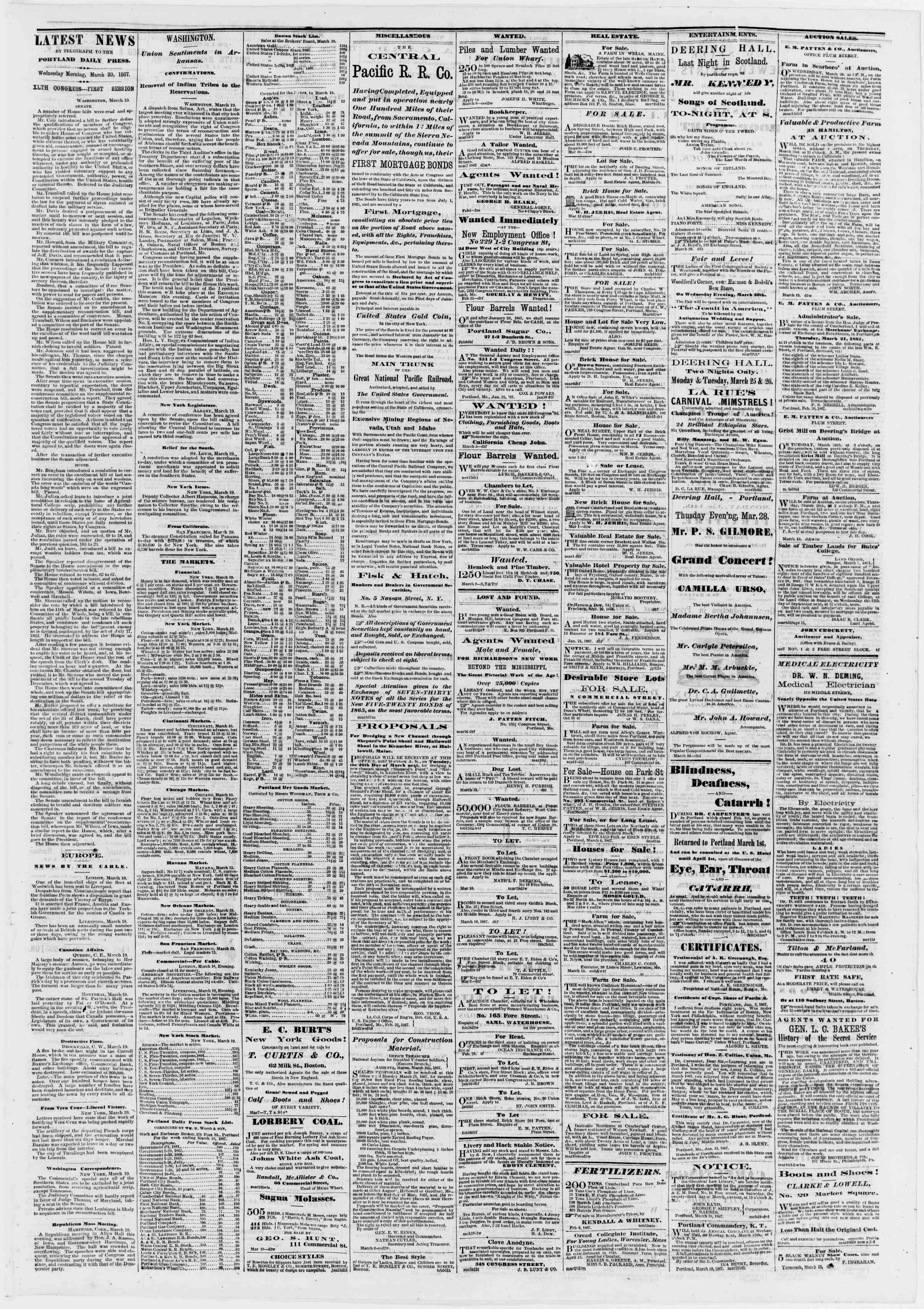Newspaper of Portland Daily Press dated March 20, 1867 Page 3