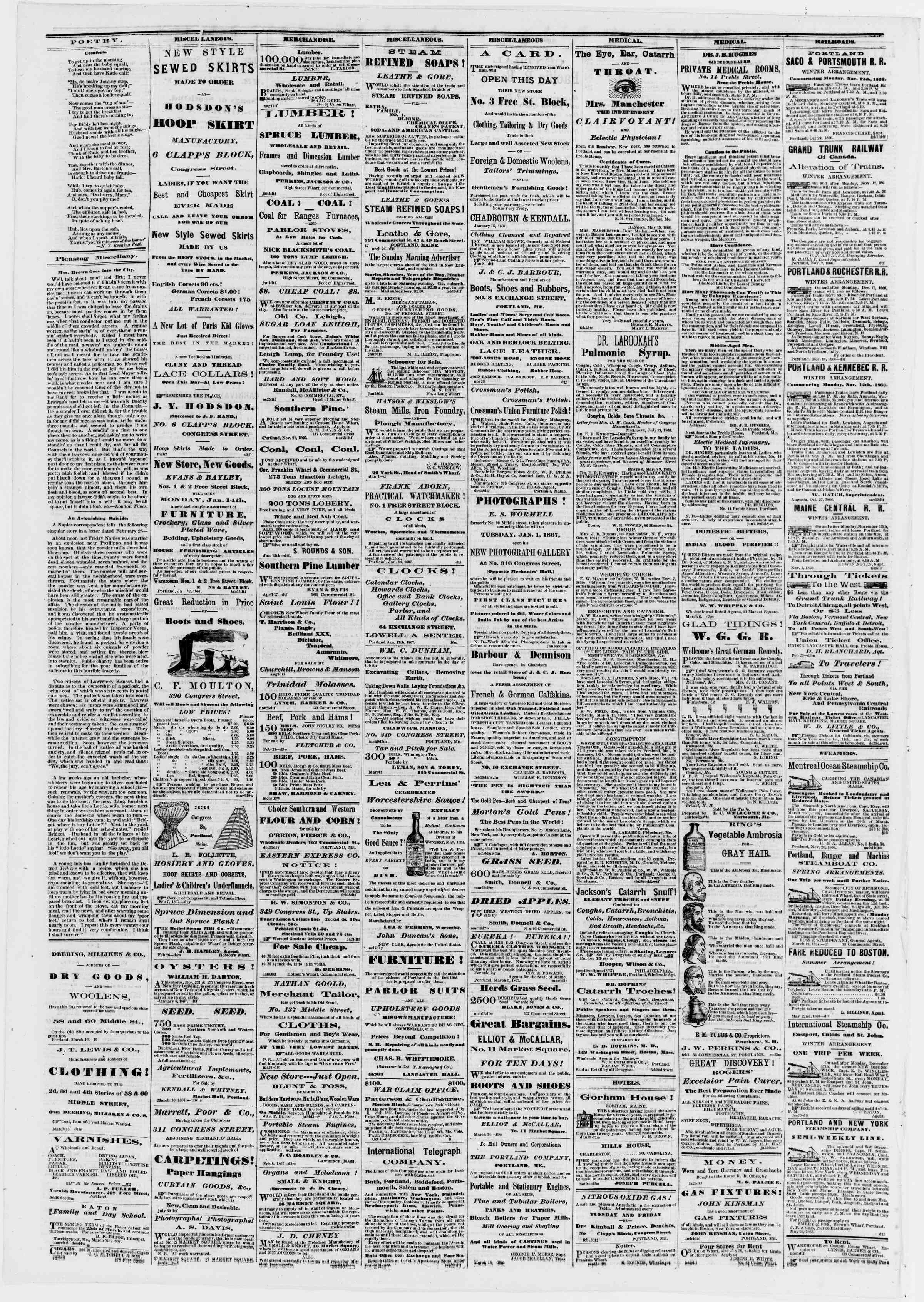 Newspaper of Portland Daily Press dated March 20, 1867 Page 4