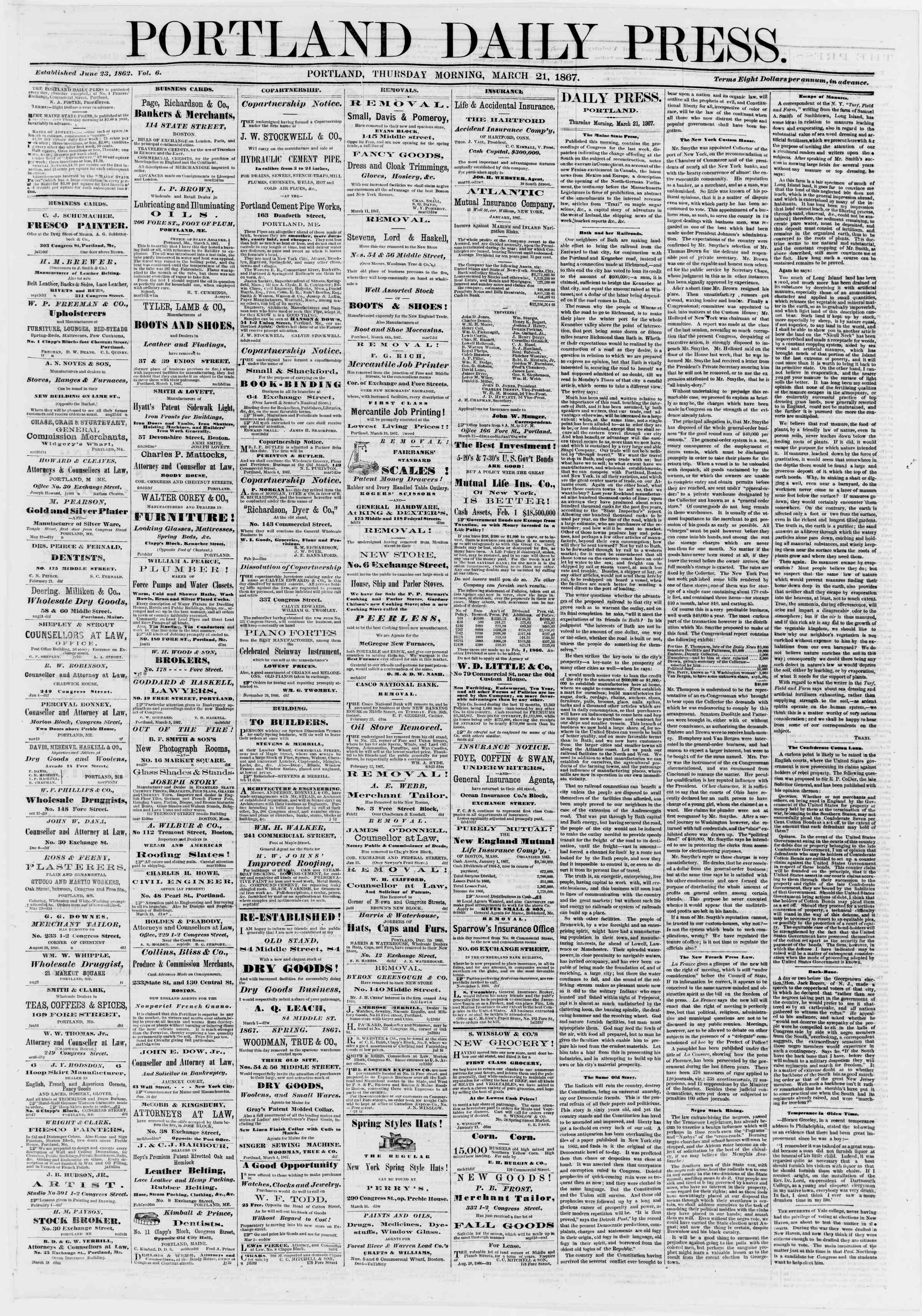 Newspaper of Portland Daily Press dated March 21, 1867 Page 1
