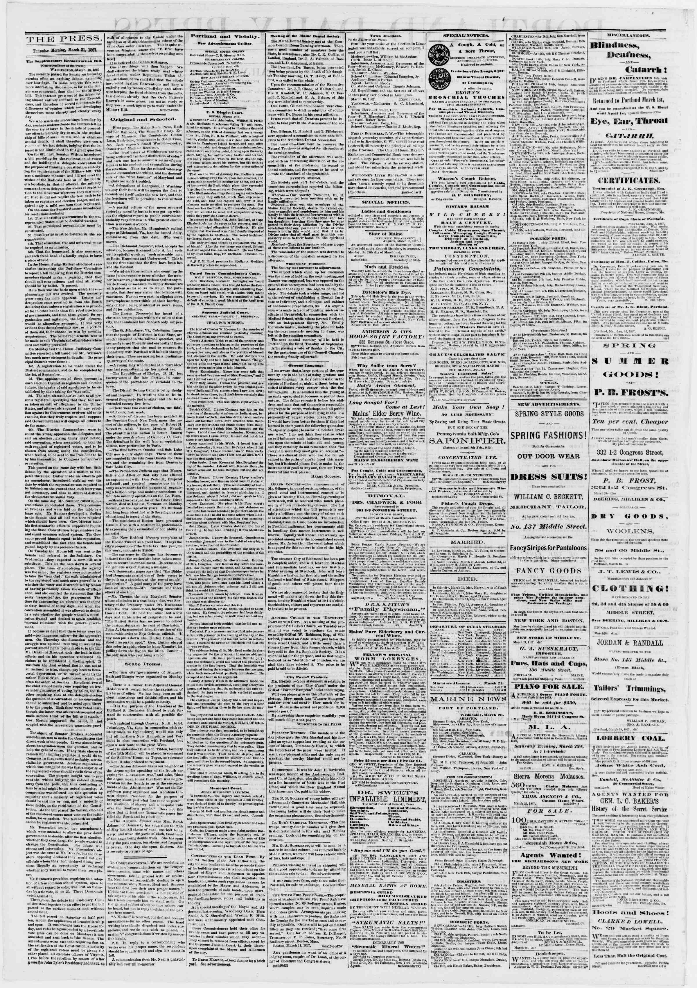 Newspaper of Portland Daily Press dated March 21, 1867 Page 2