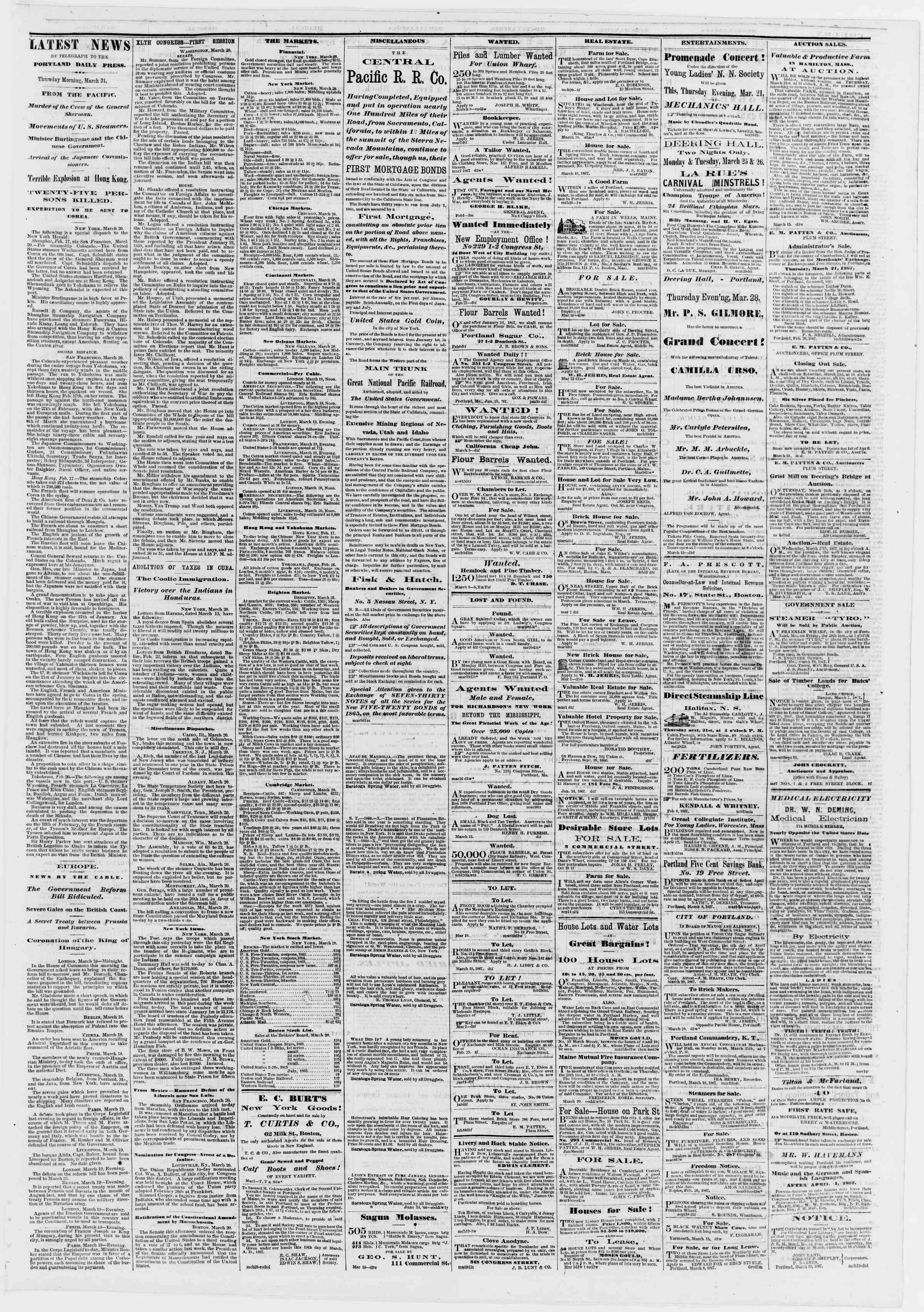 Newspaper of Portland Daily Press dated March 21, 1867 Page 3