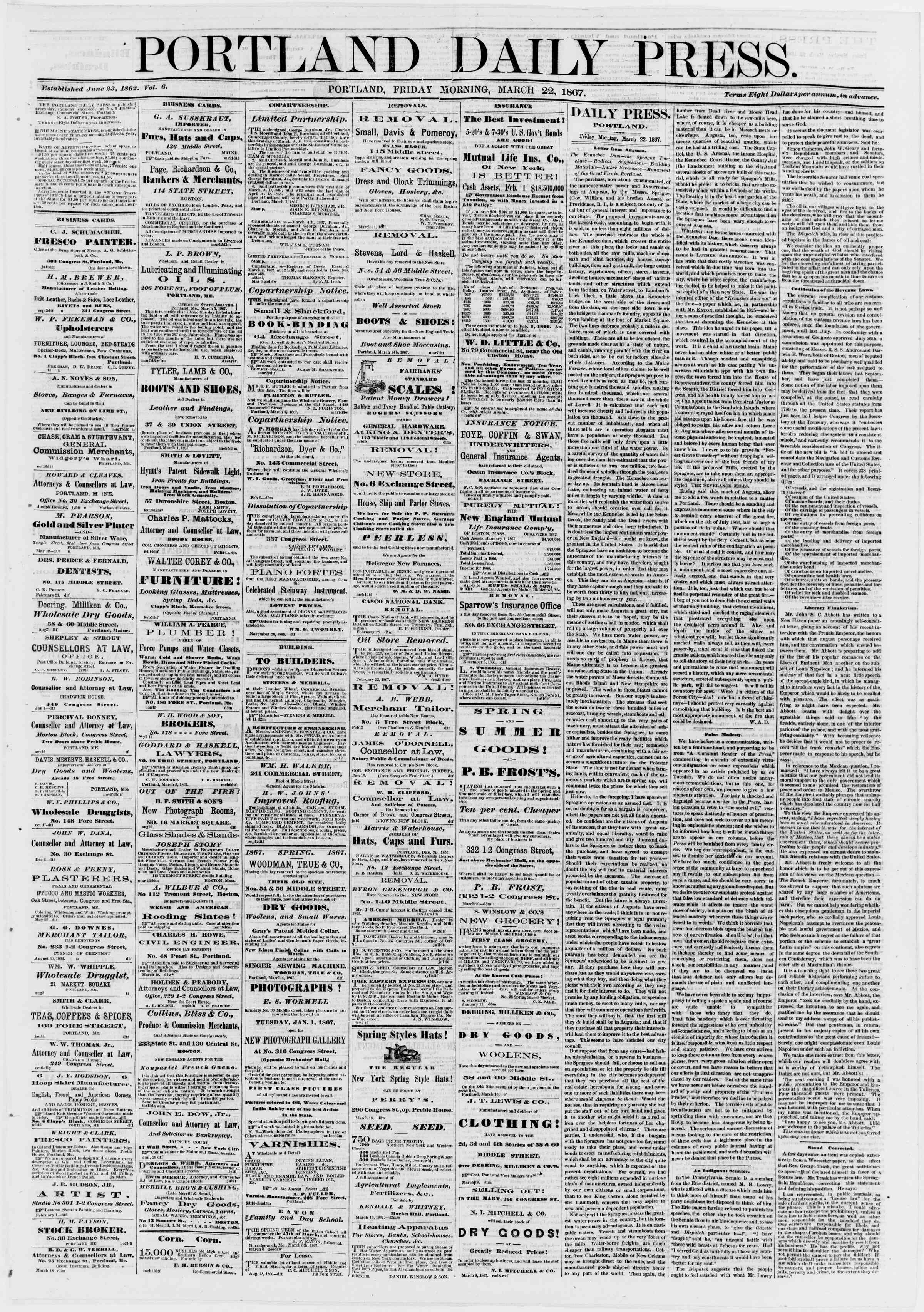 Newspaper of Portland Daily Press dated March 22, 1867 Page 1