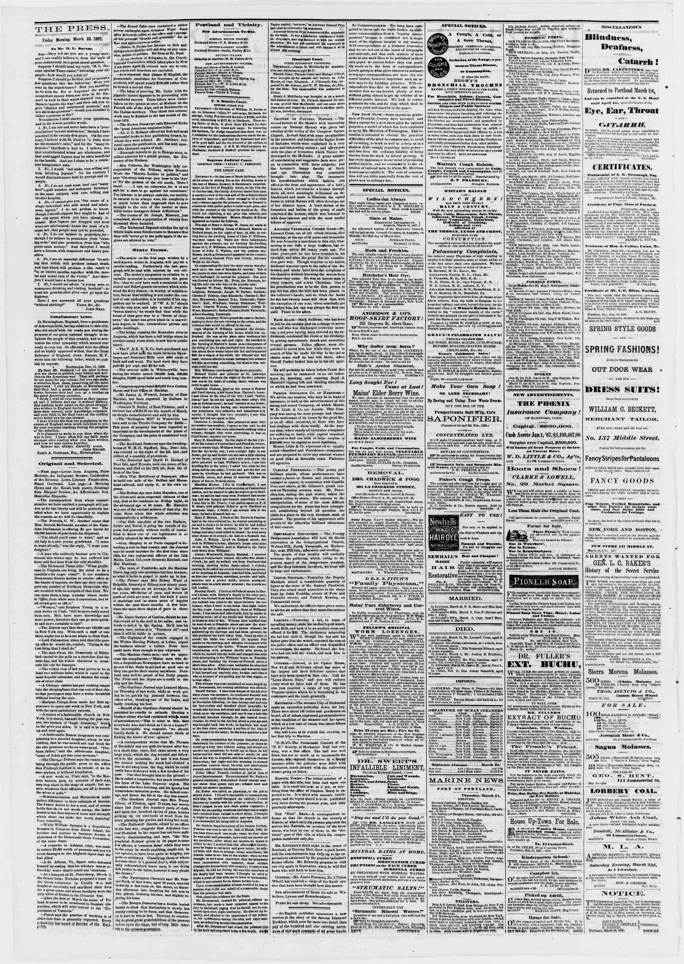 Newspaper of Portland Daily Press dated March 22, 1867 Page 2