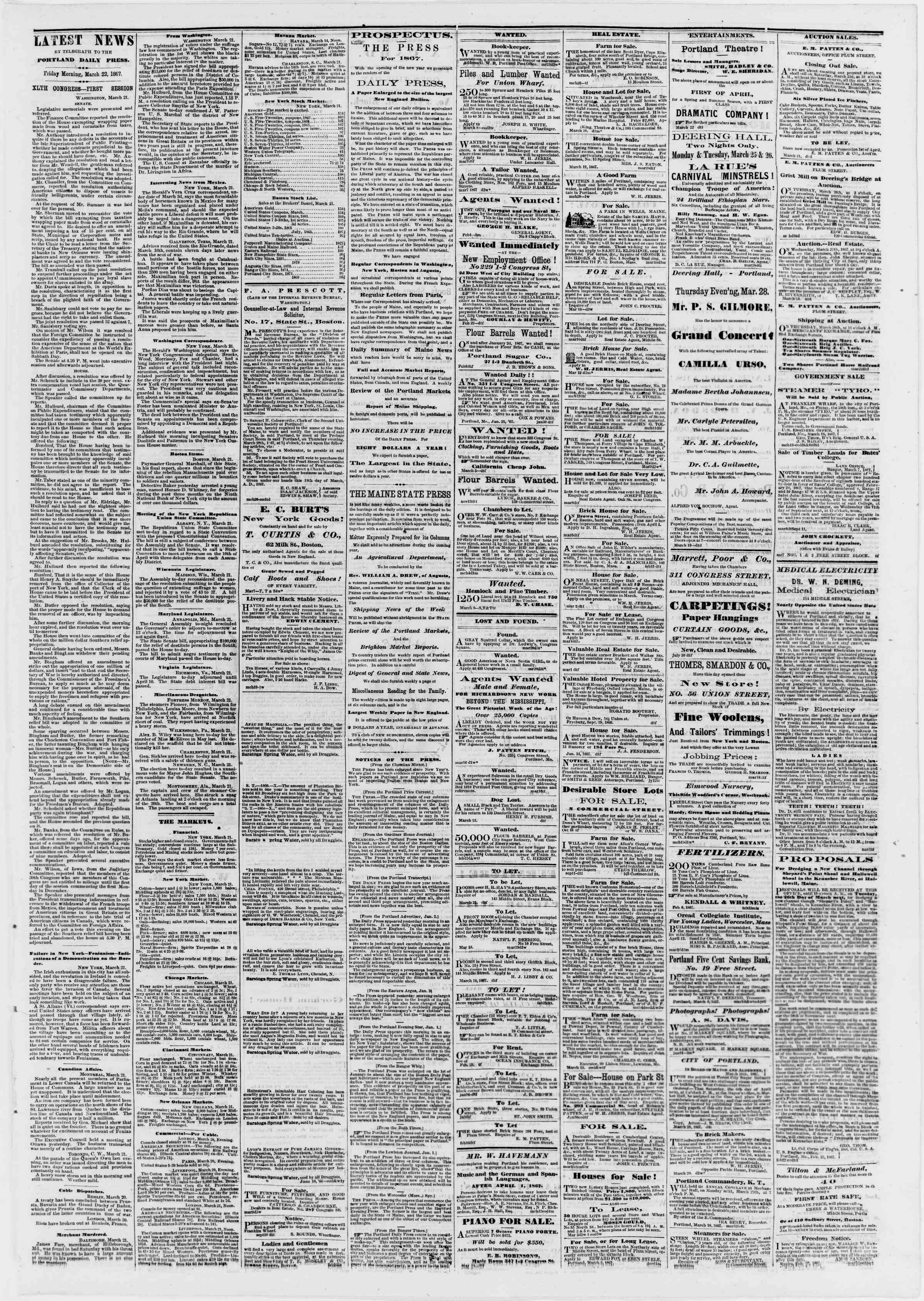 Newspaper of Portland Daily Press dated March 22, 1867 Page 3