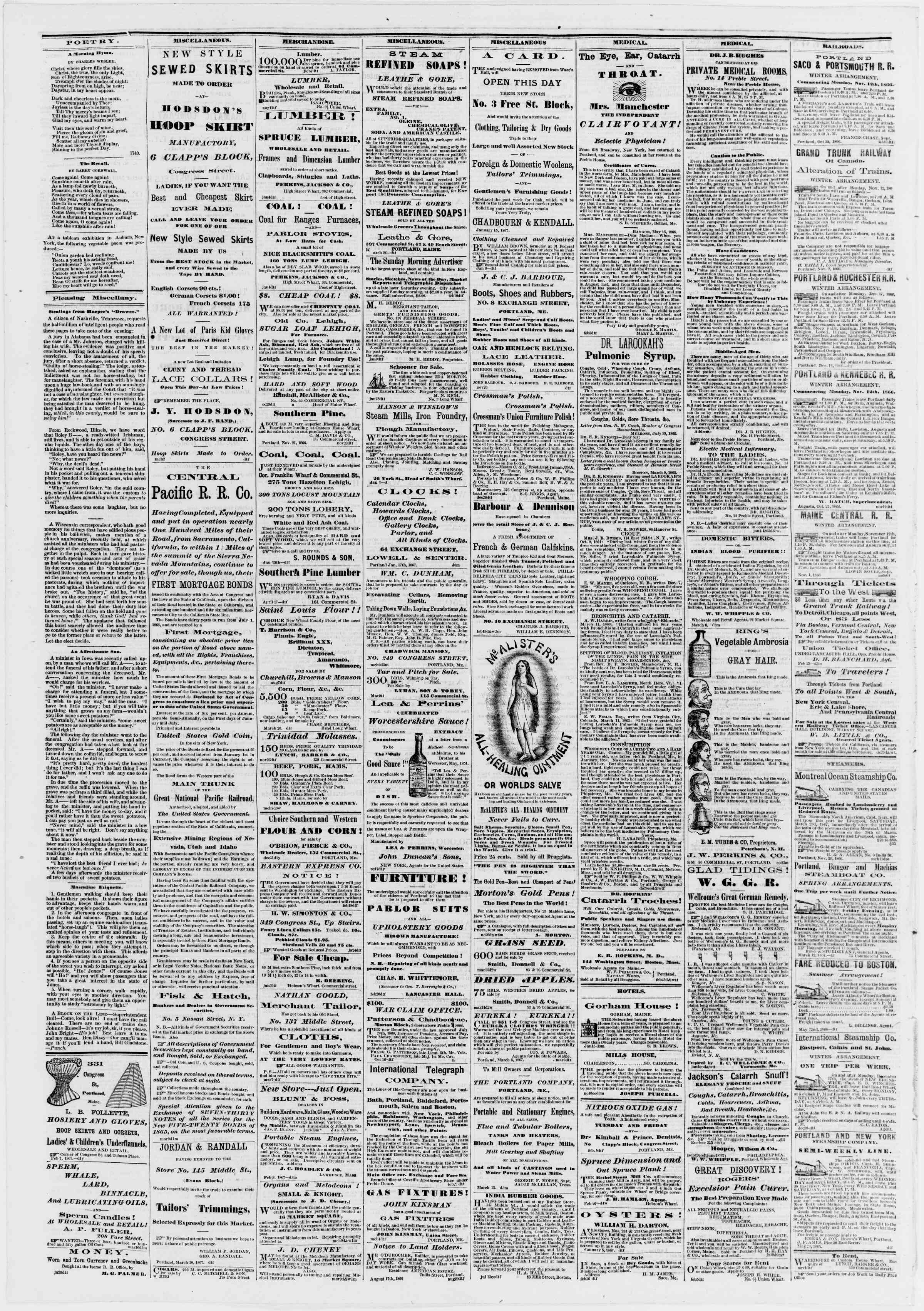 Newspaper of Portland Daily Press dated March 22, 1867 Page 4