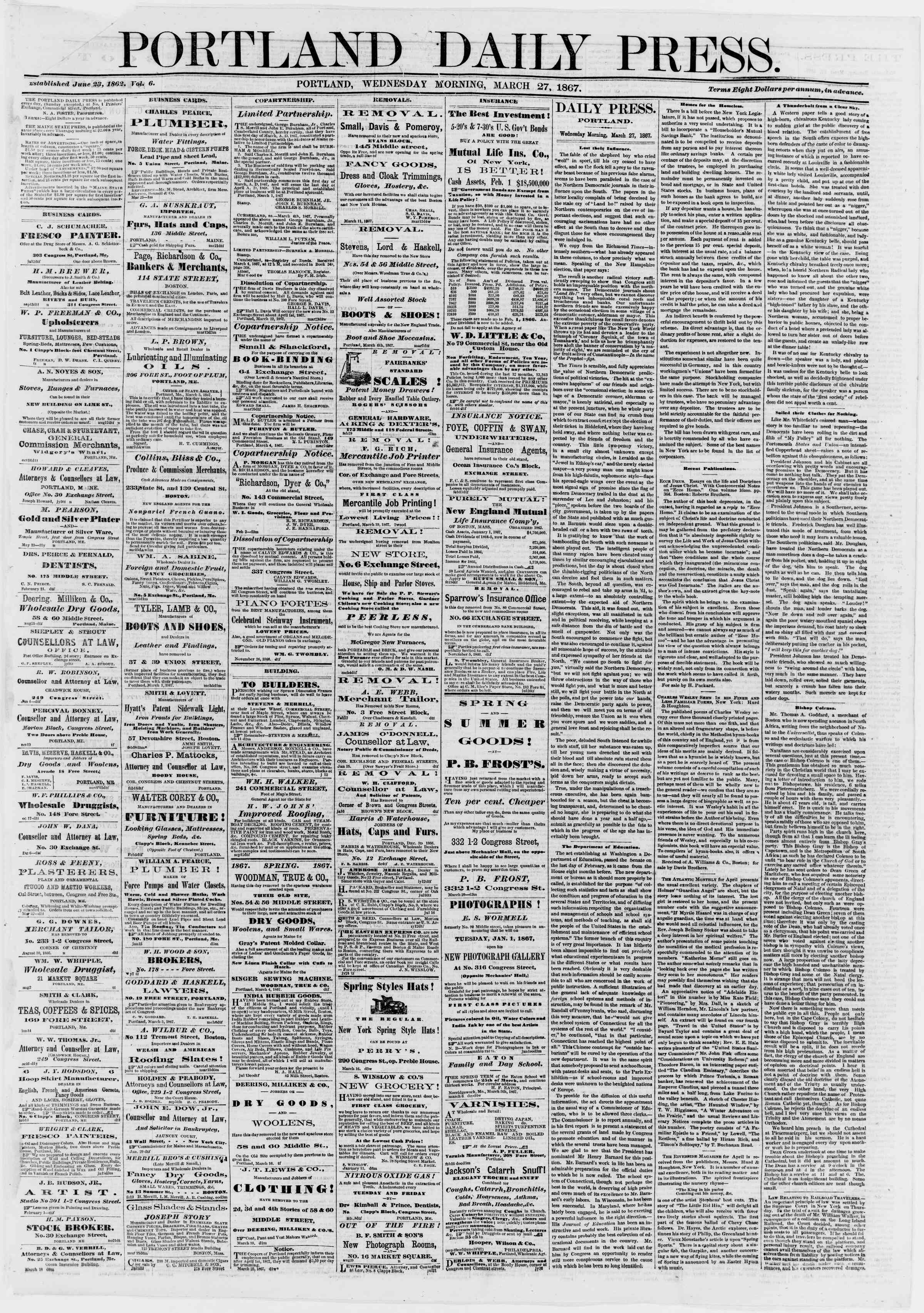 Newspaper of Portland Daily Press dated March 27, 1867 Page 1