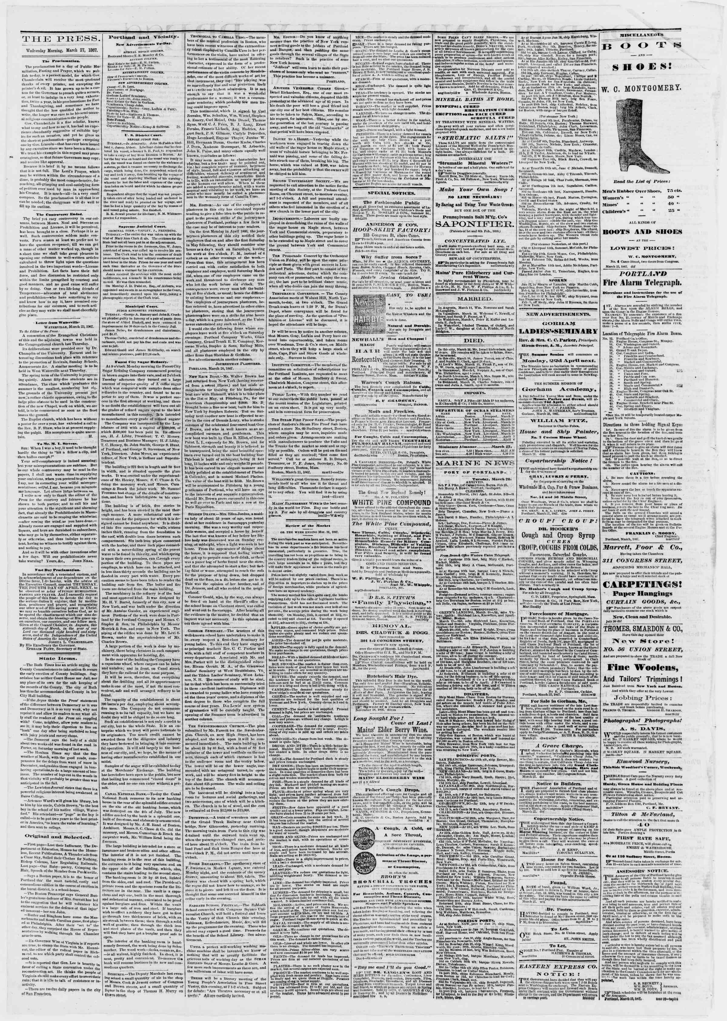 Newspaper of Portland Daily Press dated March 27, 1867 Page 2