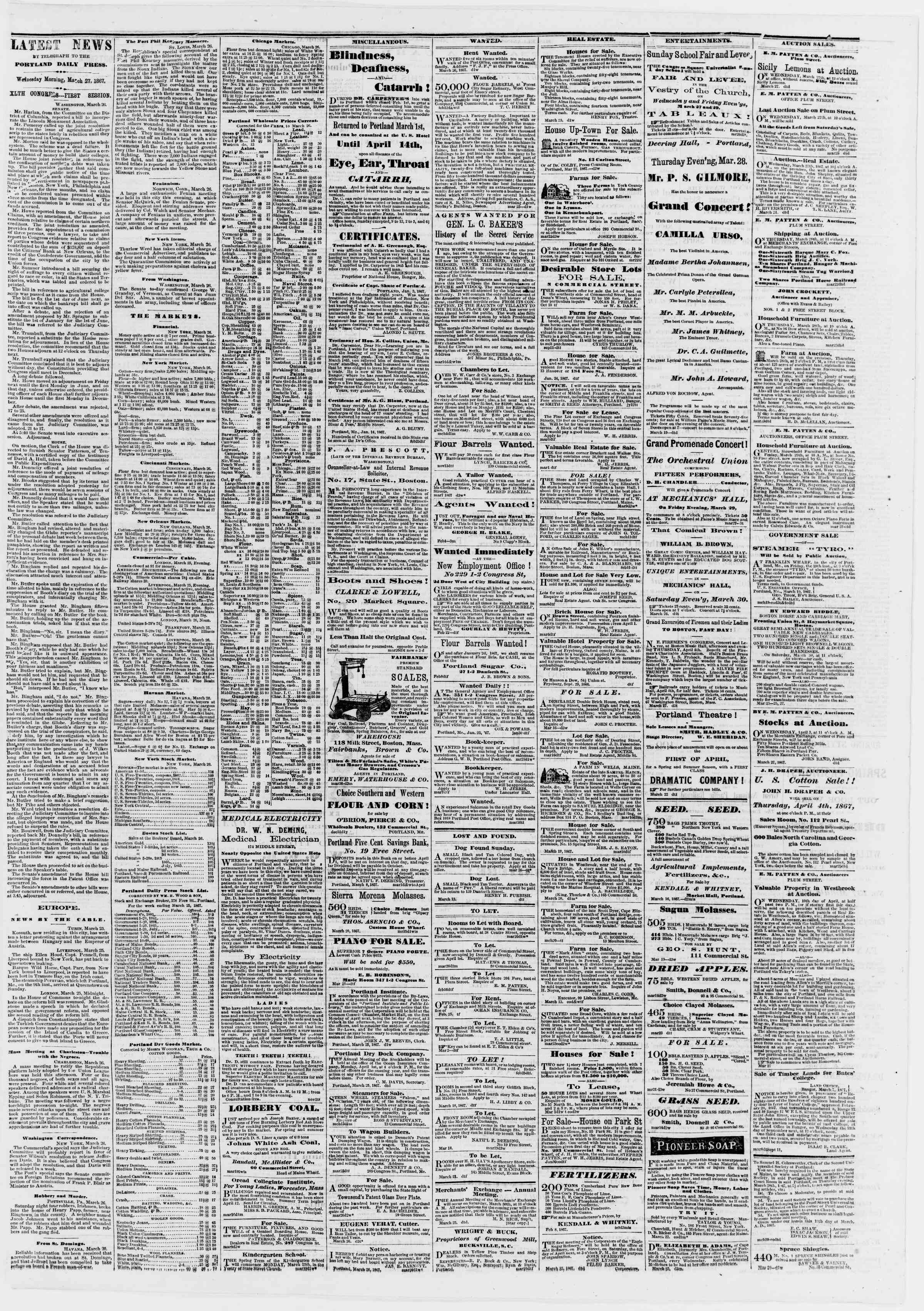 Newspaper of Portland Daily Press dated March 27, 1867 Page 3