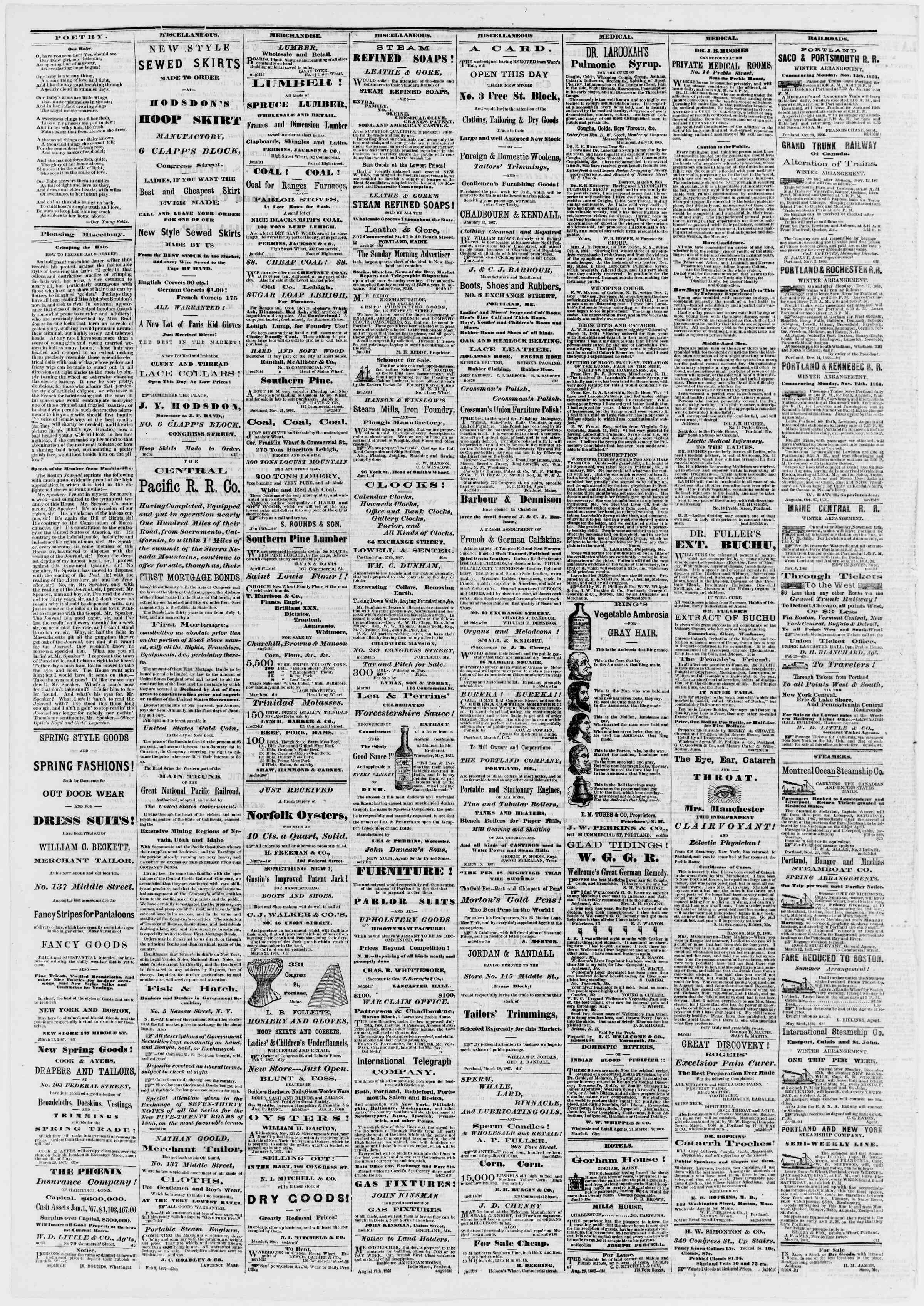 Newspaper of Portland Daily Press dated March 27, 1867 Page 4