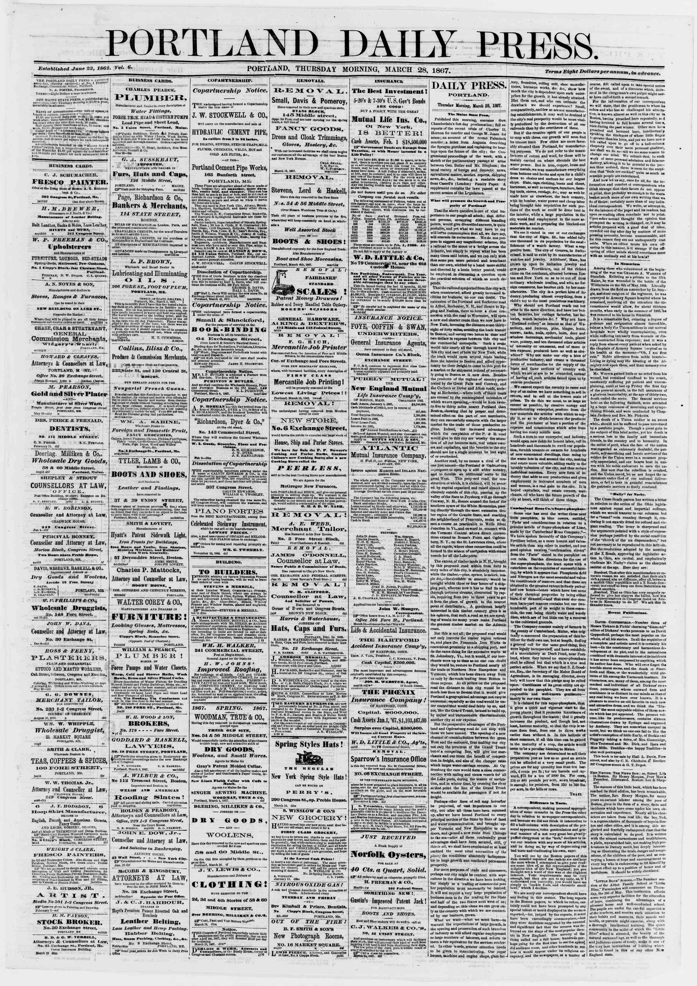 Newspaper of Portland Daily Press dated March 28, 1867 Page 1