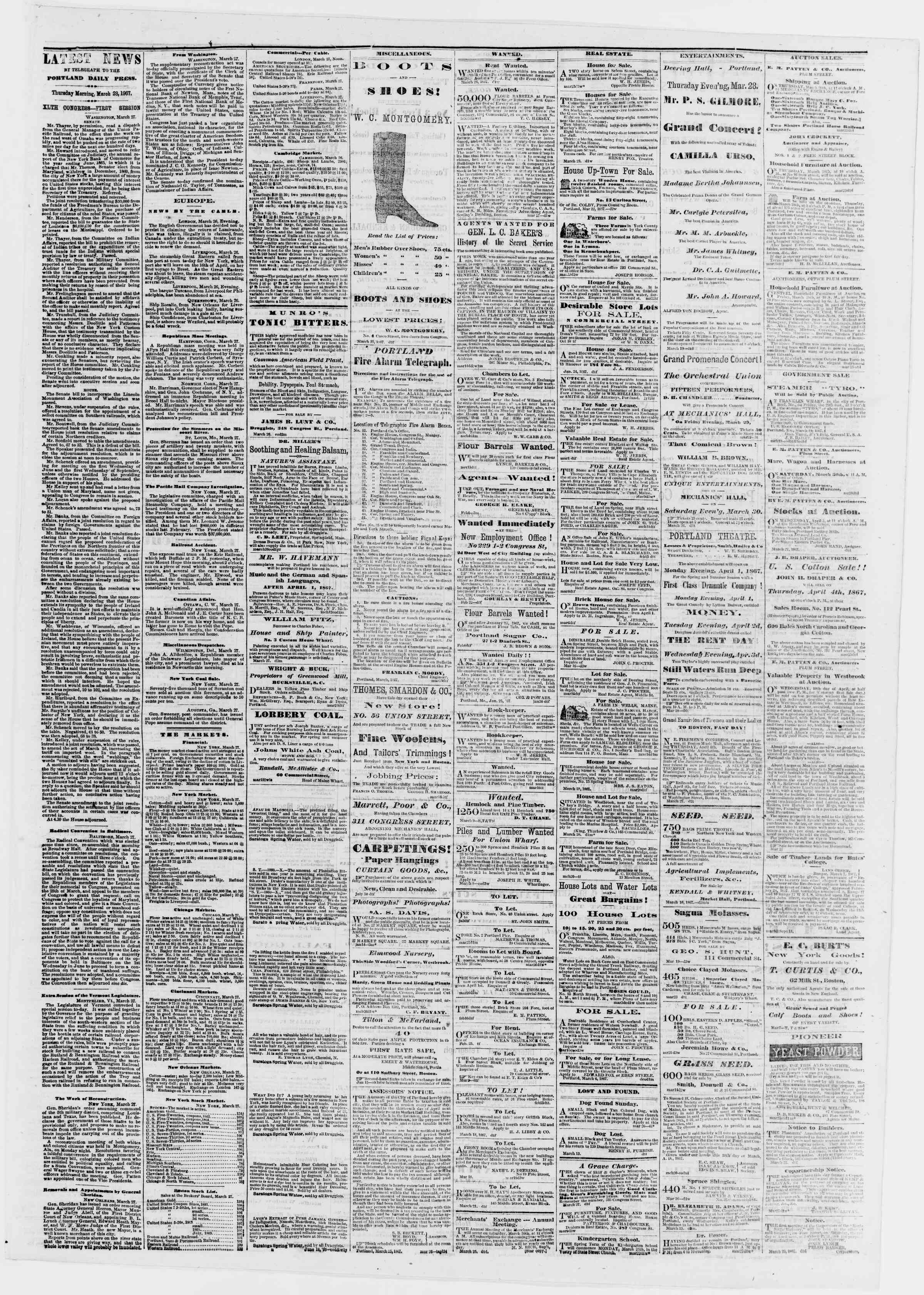 Newspaper of Portland Daily Press dated March 28, 1867 Page 3