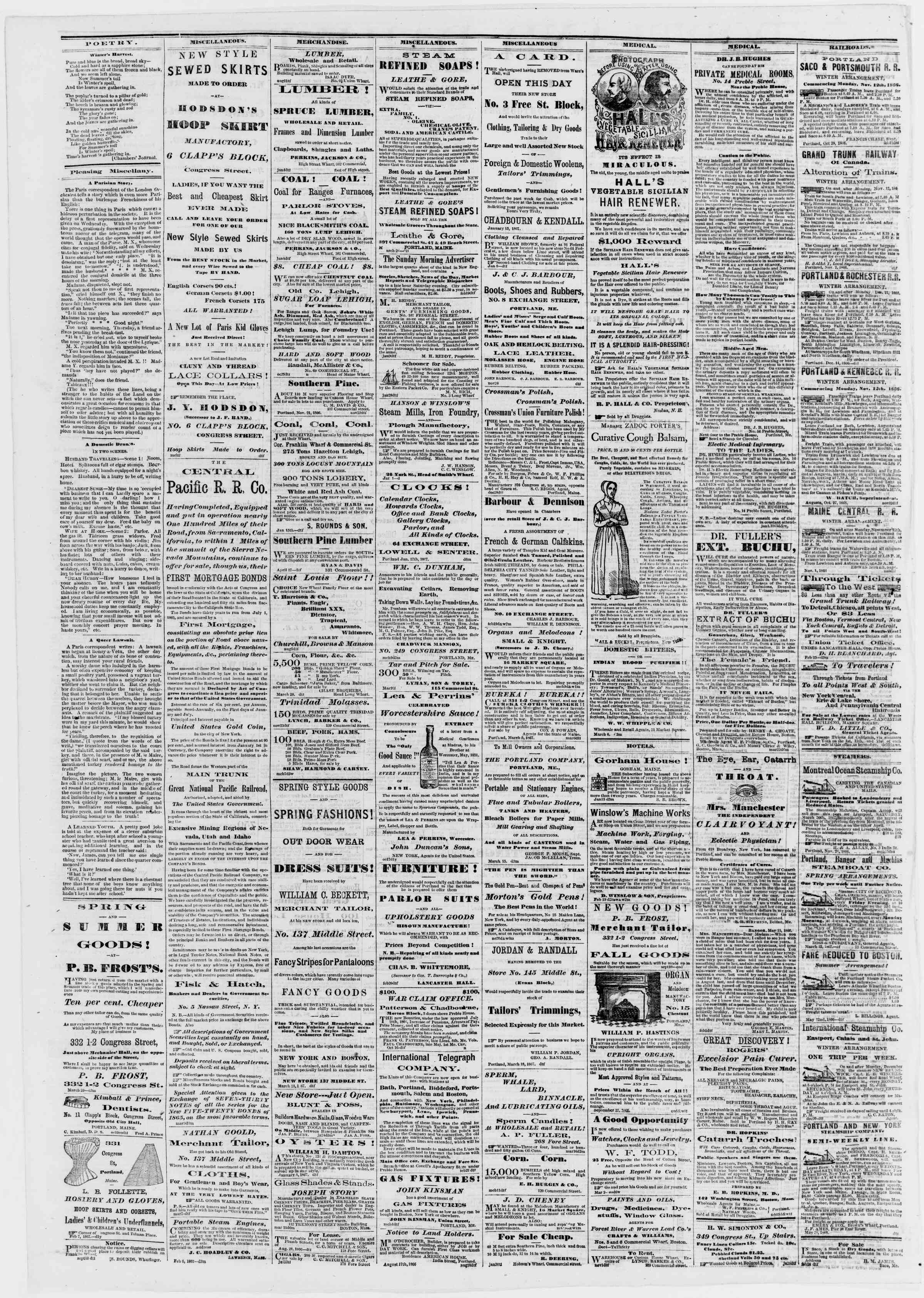Newspaper of Portland Daily Press dated March 28, 1867 Page 4