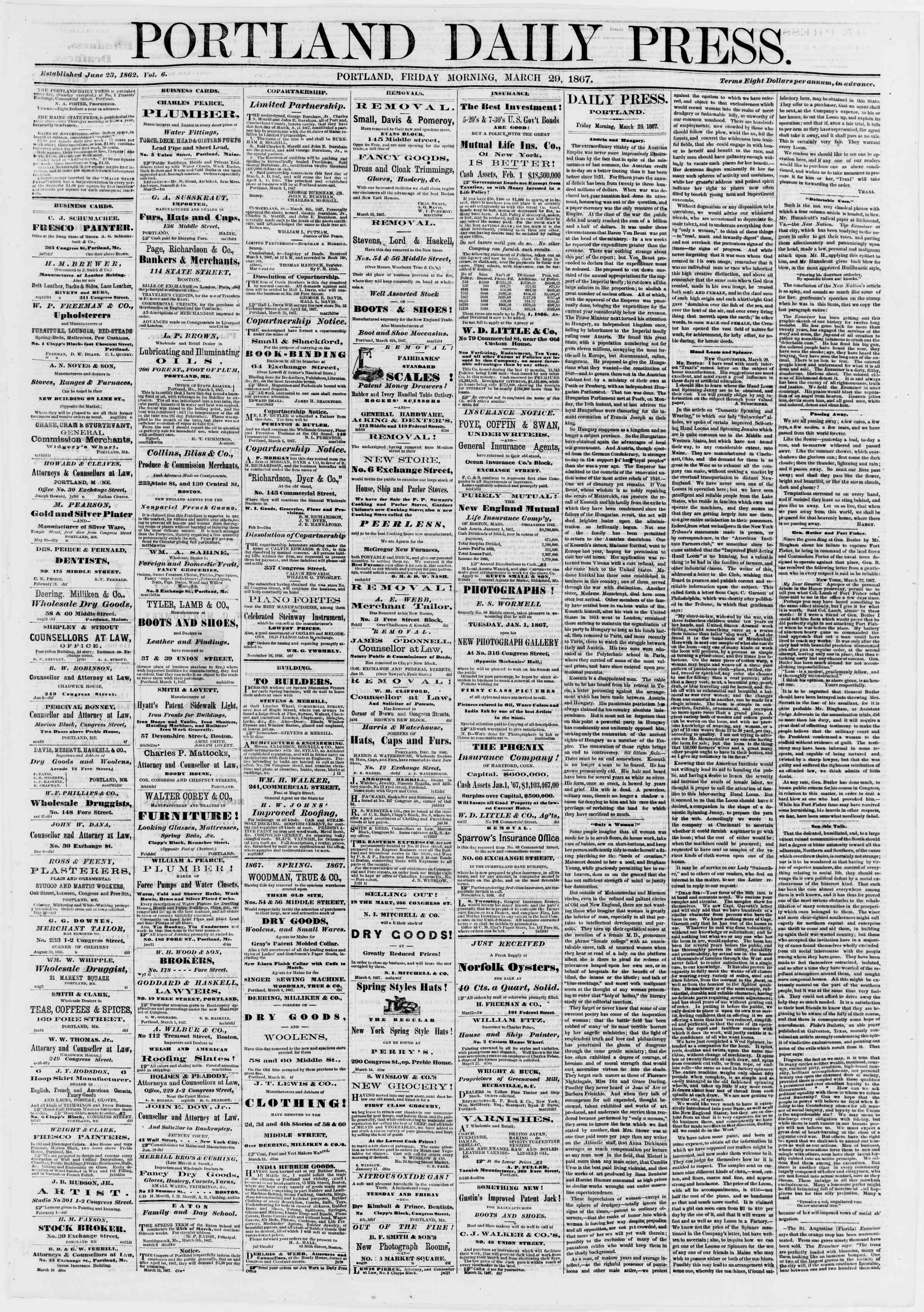 Newspaper of Portland Daily Press dated March 29, 1867 Page 1