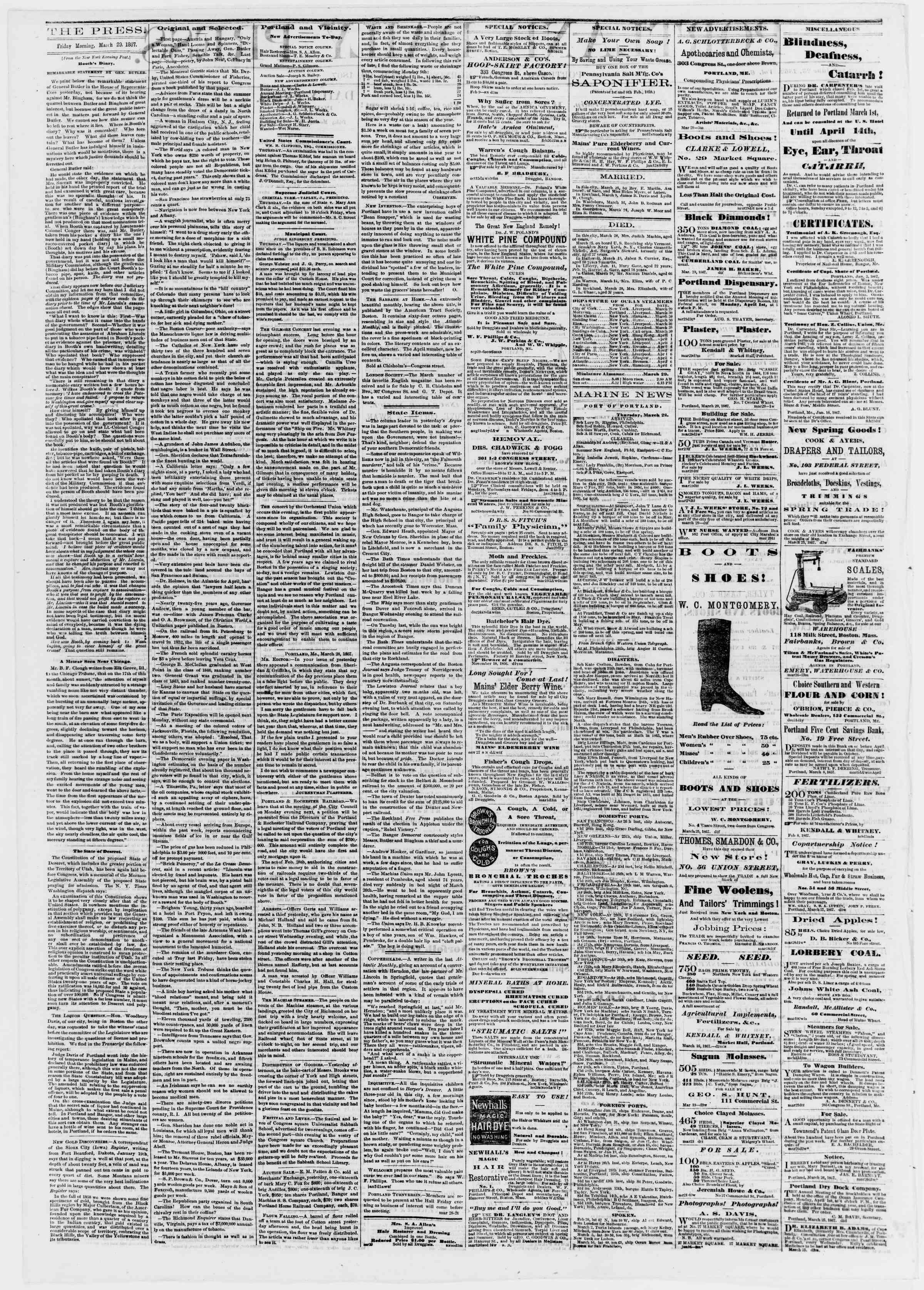 Newspaper of Portland Daily Press dated March 29, 1867 Page 2