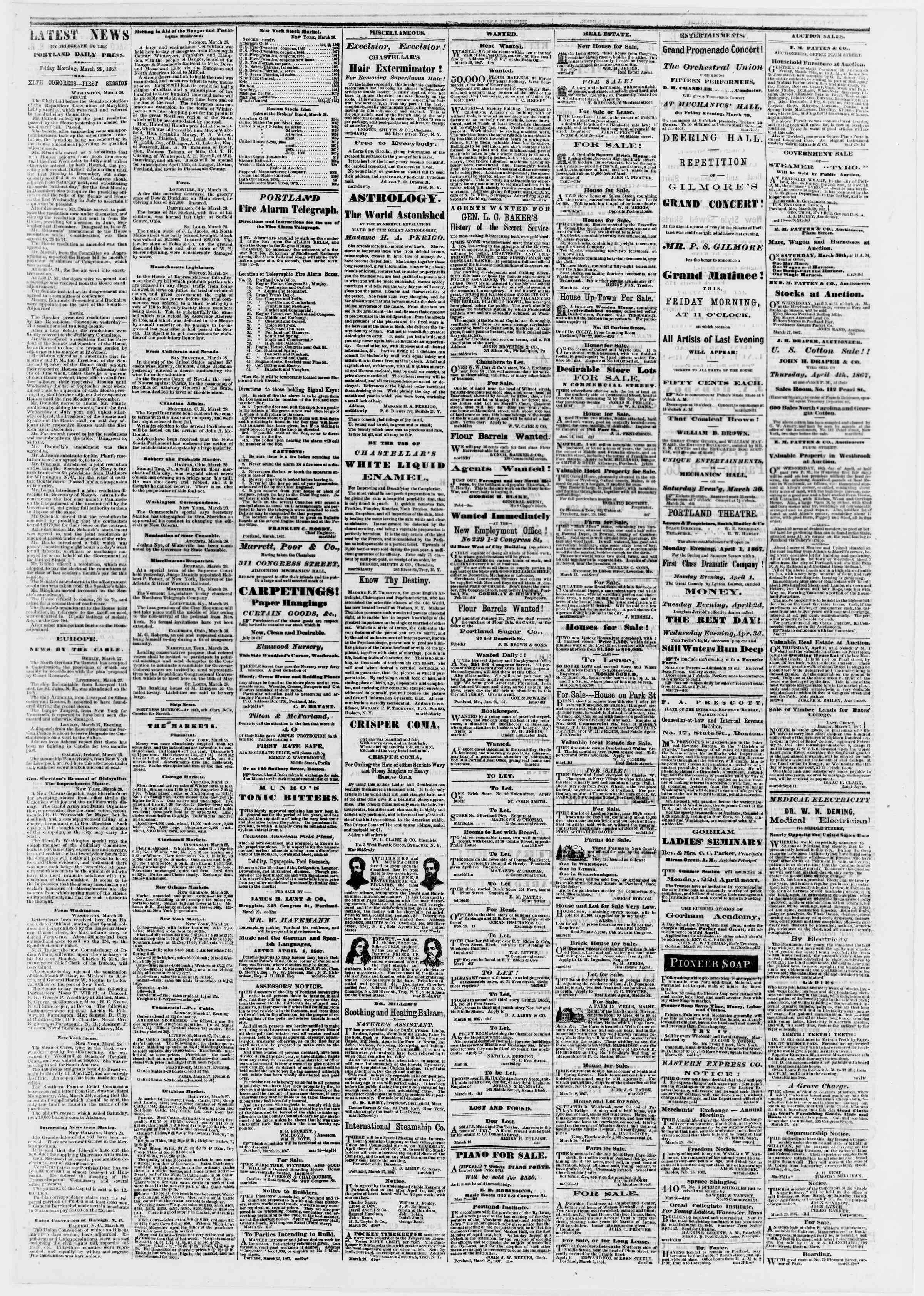 Newspaper of Portland Daily Press dated March 29, 1867 Page 3