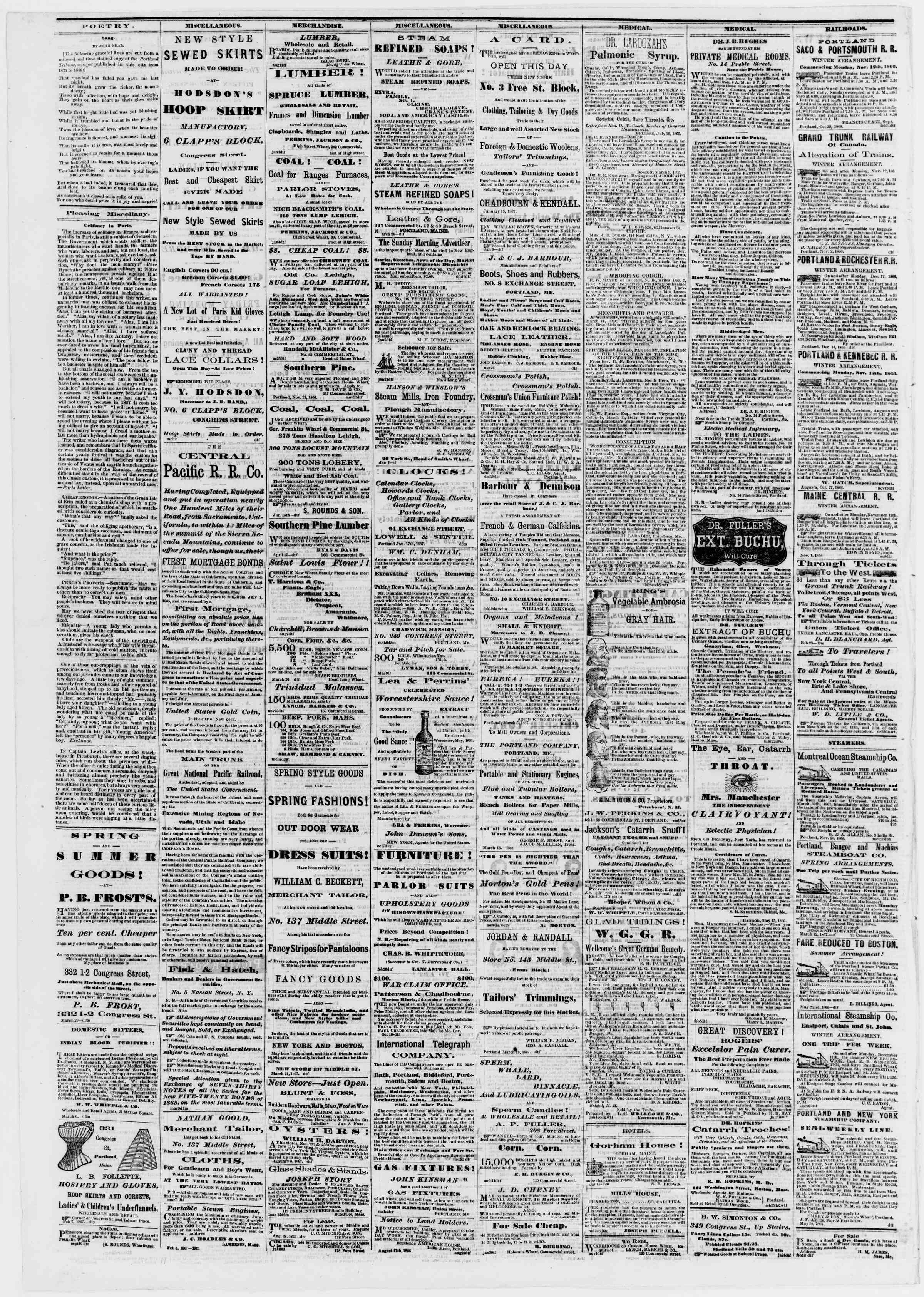Newspaper of Portland Daily Press dated March 29, 1867 Page 4