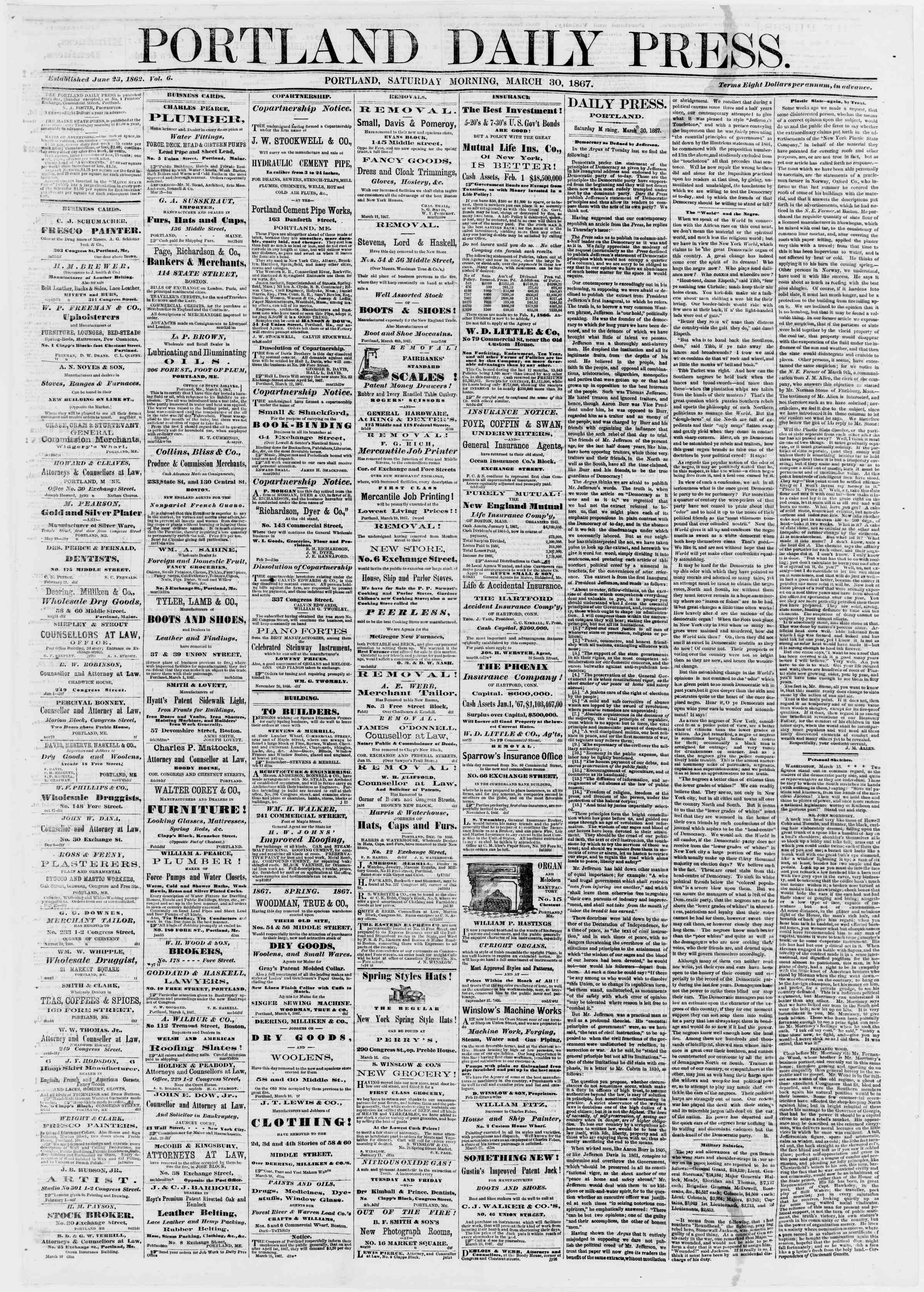 Newspaper of Portland Daily Press dated March 30, 1867 Page 1