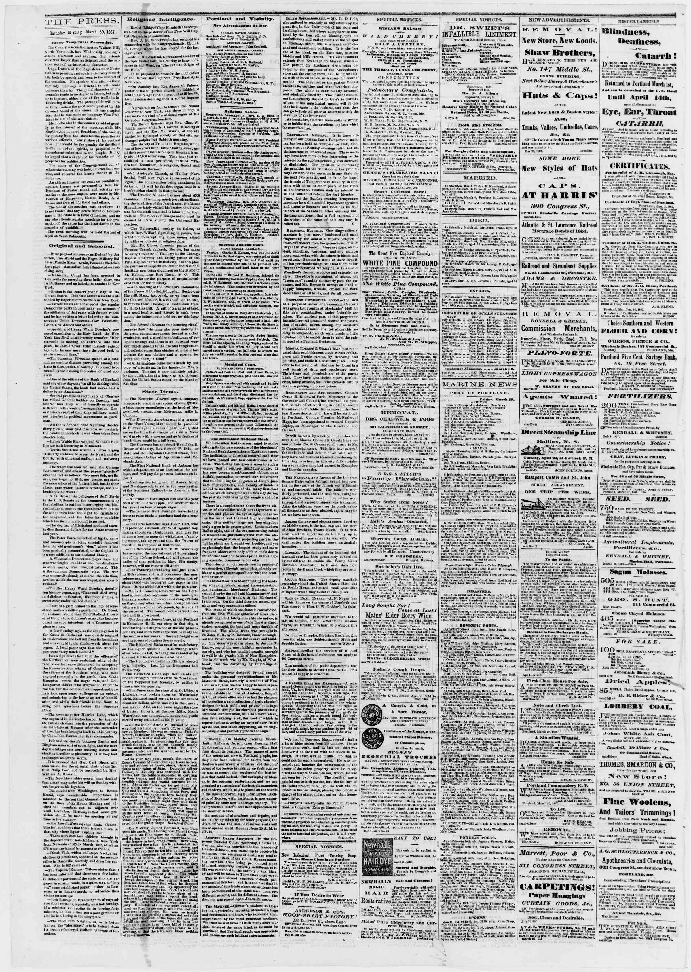 Newspaper of Portland Daily Press dated 30 Mart 1867 Page 2